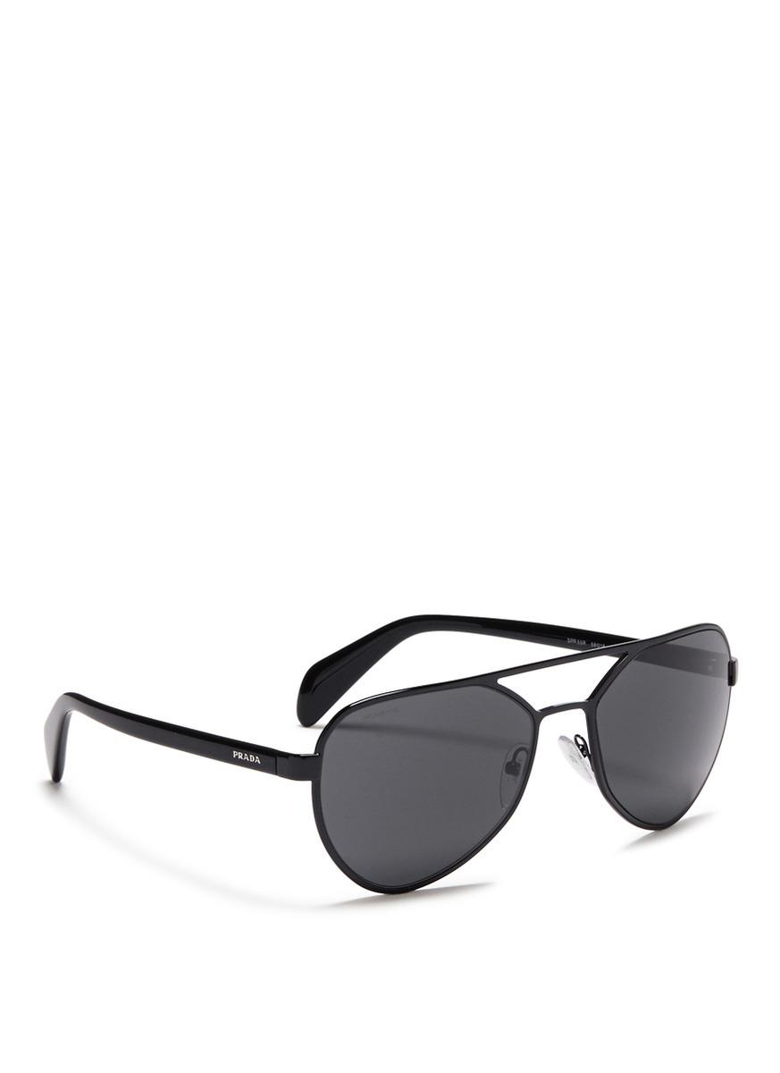 046c7f5073 ... reduced lyst prada acetate temple metal angular aviator sunglasses in  black for men 9b19d ed3b4 ...