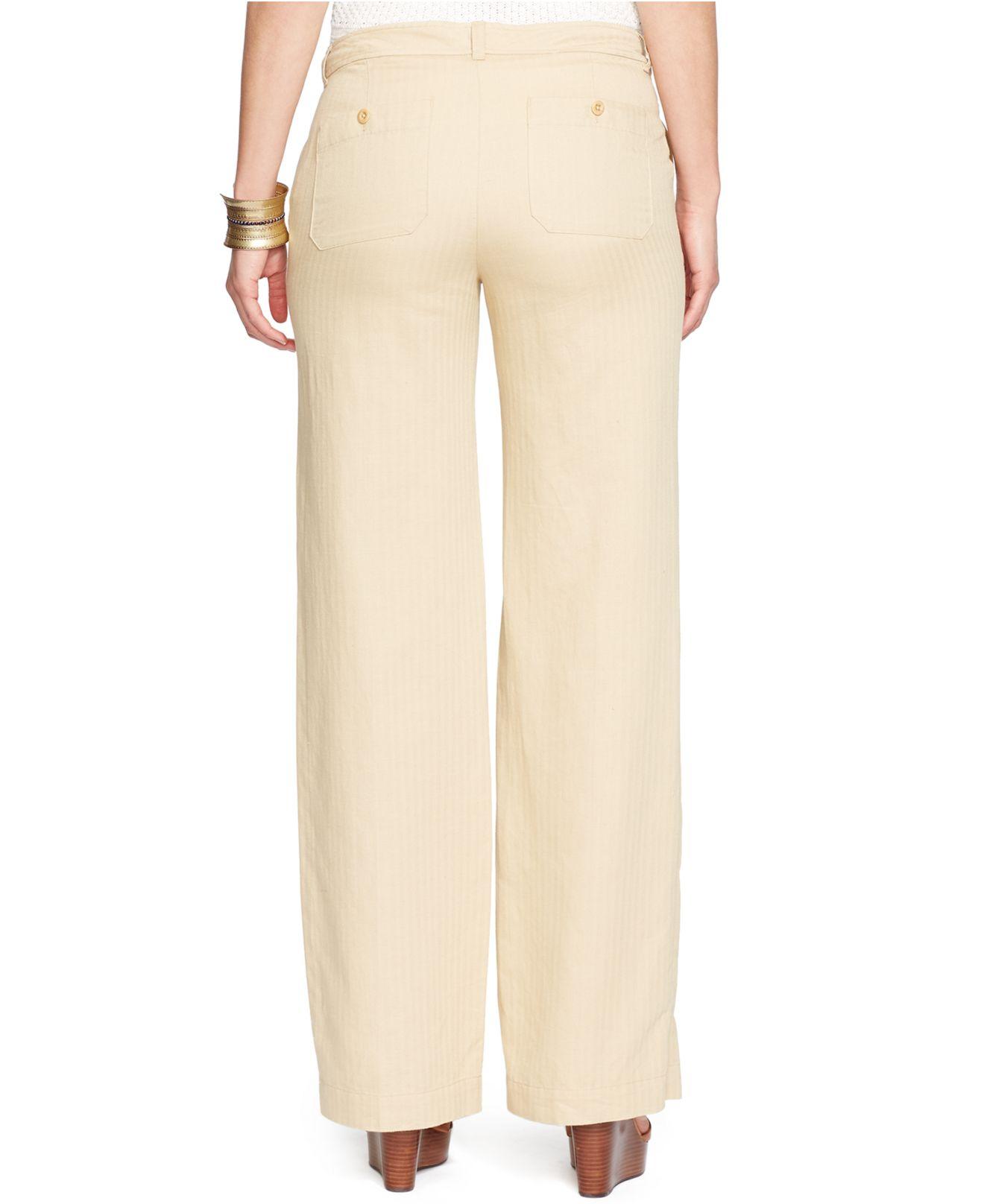 Lauren by ralph lauren Plus Size Linen Wide-Leg Pants in Brown | Lyst