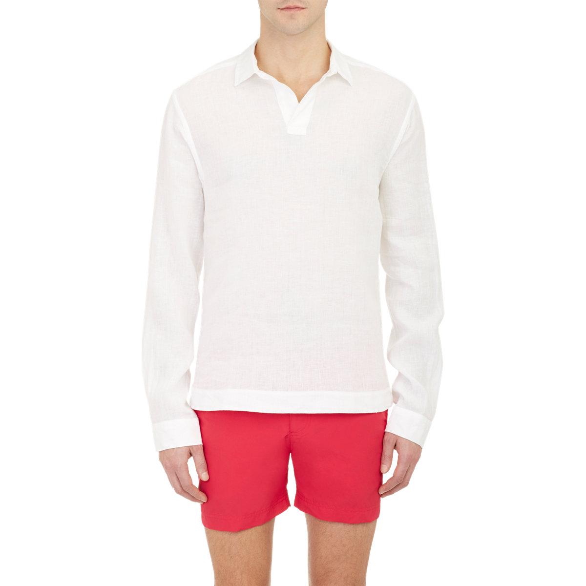 Orlebar brown slub ridley shirt in white for men lyst for What is a slub shirt