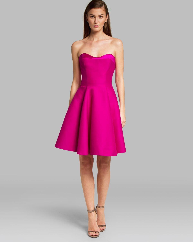 Halston Dress Strapless Structured Flare Skirt In Pink Lyst
