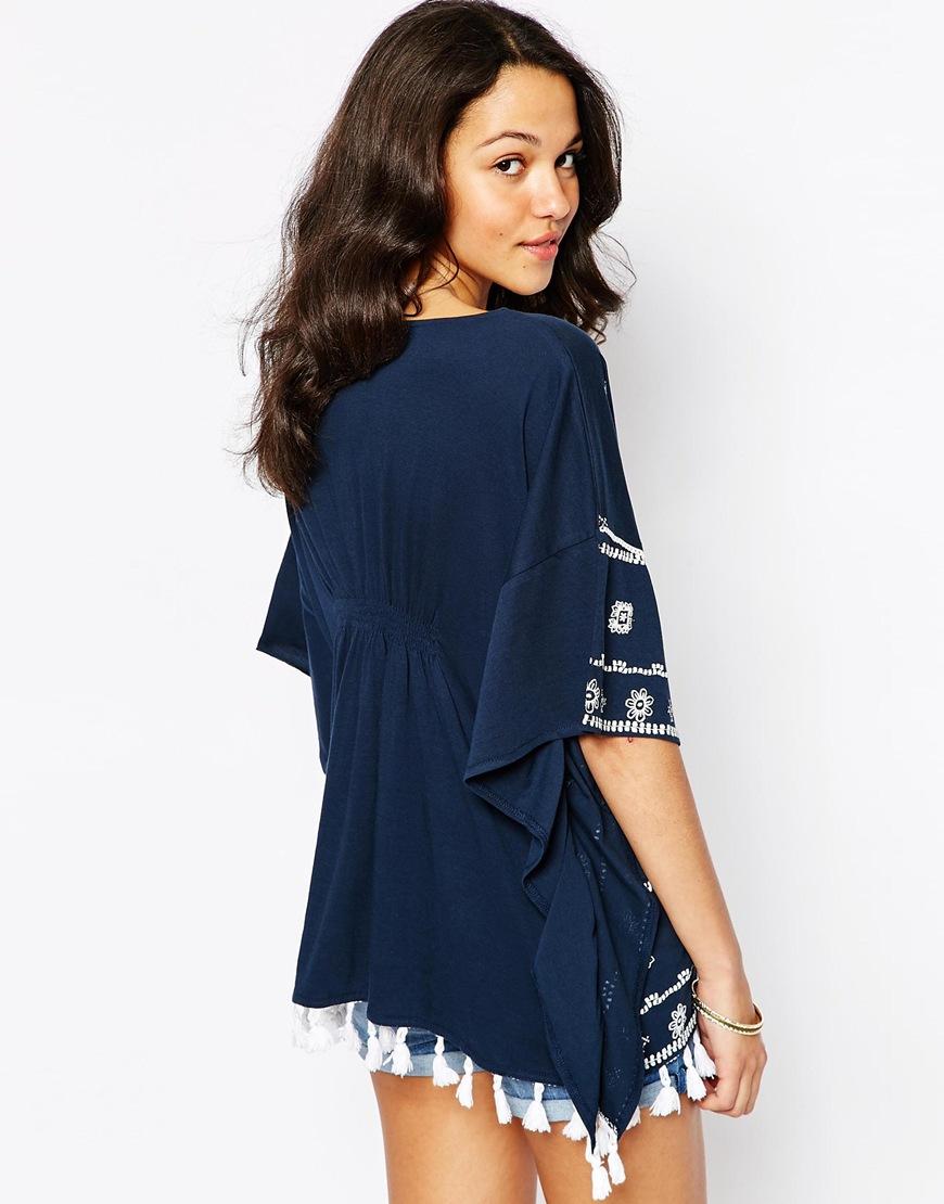 Lyst - Esprit Kimono Tassel Detail Top in Blue