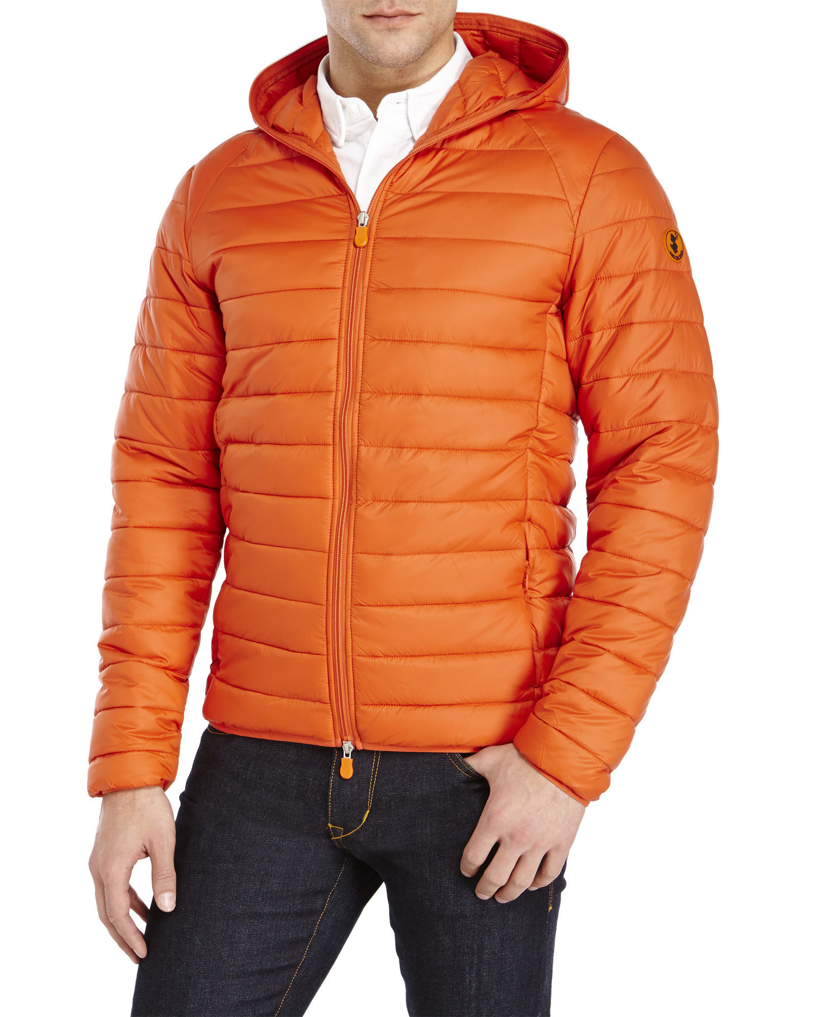 Save The Duck Hooded Puffer Jacket In Orange For Men Lyst