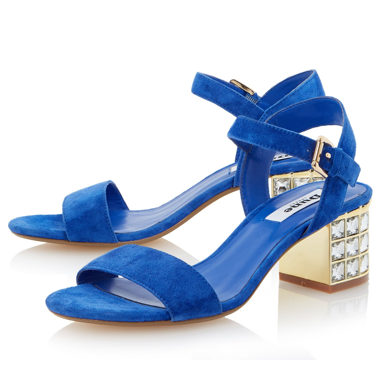 a097746ae0ecc4 Dune Harah Jewelled Block Heeled Sandals in Blue - Lyst clearance sale  dfebe ee608 ...
