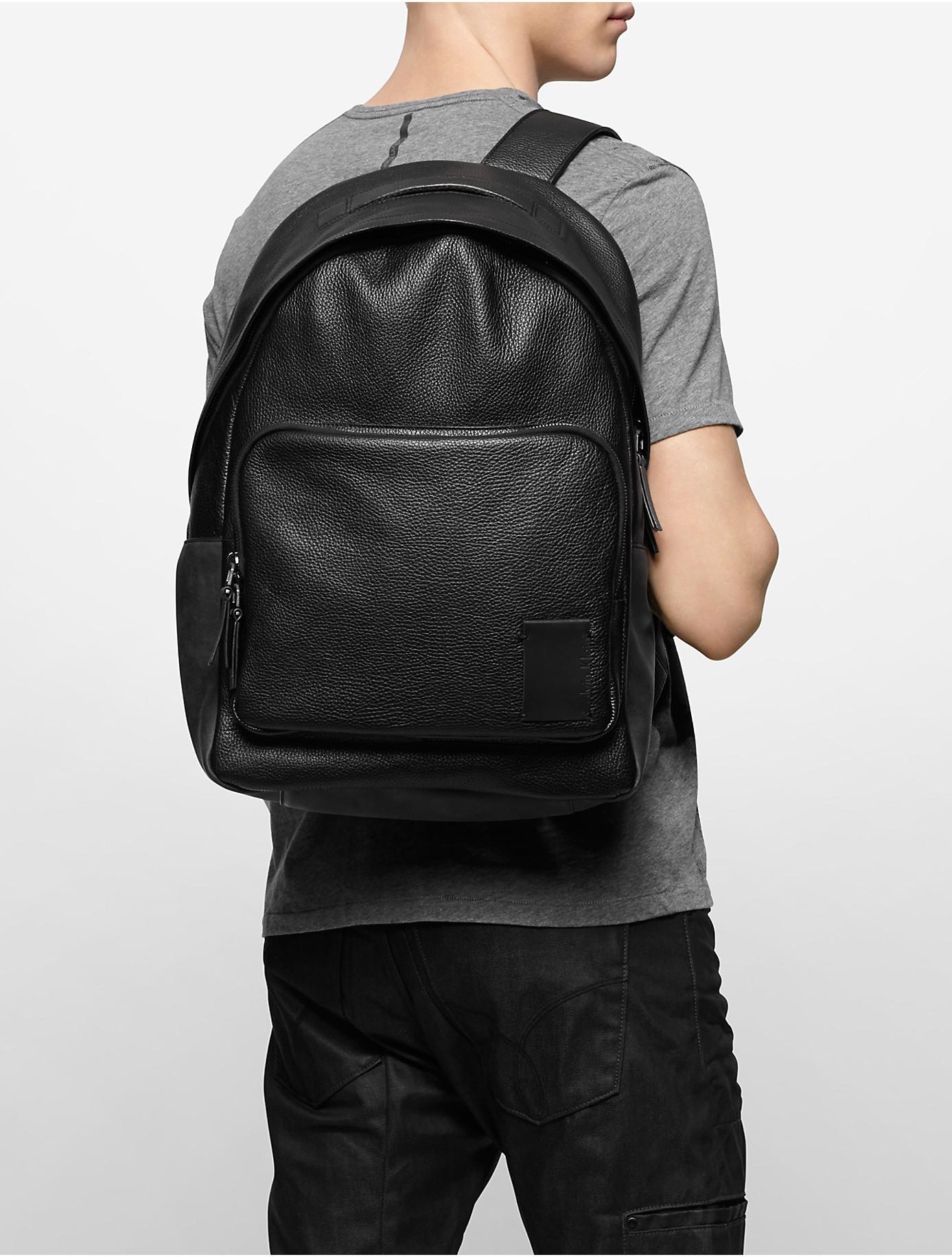 calvin klein jeans pebble textured leather backpack in. Black Bedroom Furniture Sets. Home Design Ideas