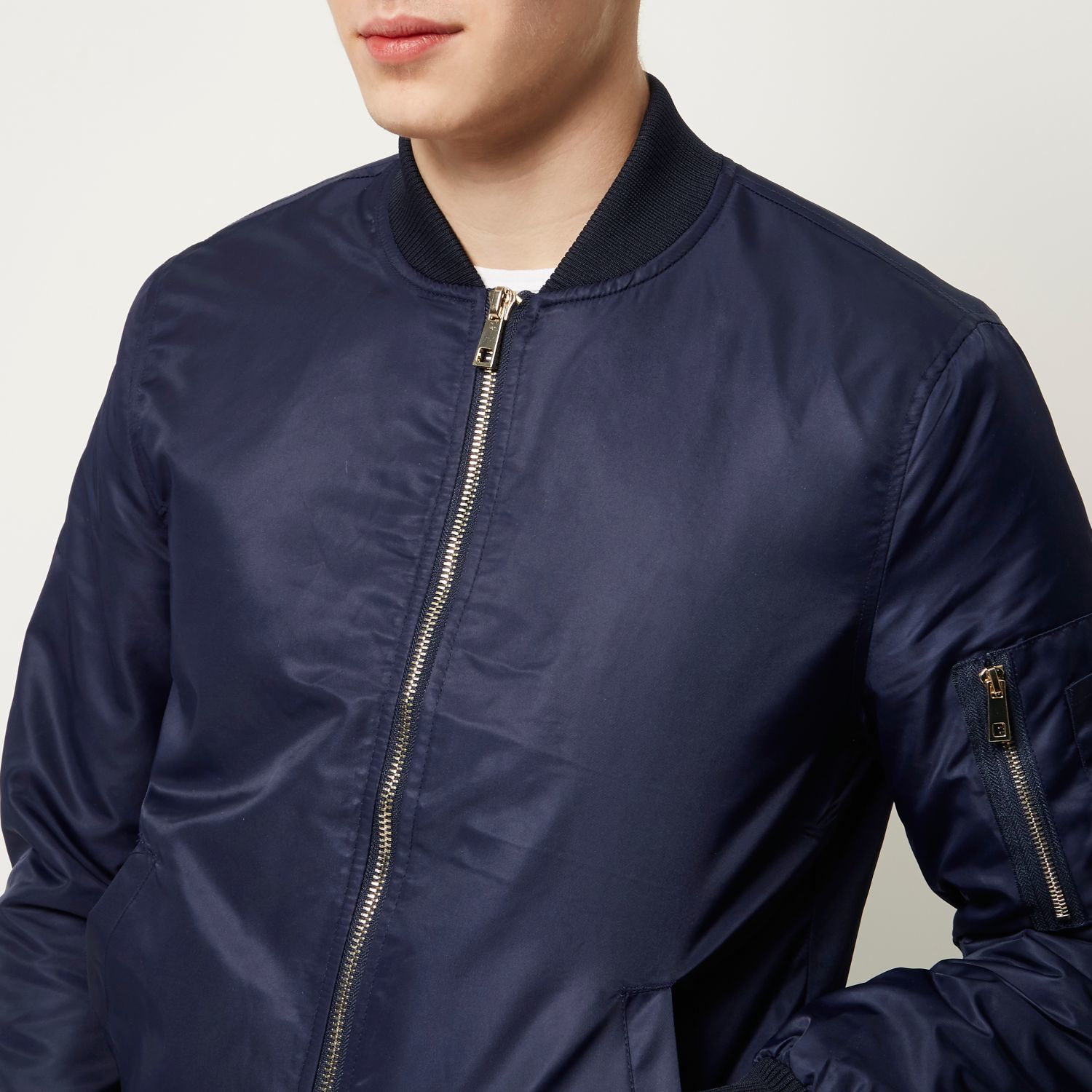 River island Navy Blue Zip Sleeve Bomber Jacket in Blue for Men | Lyst