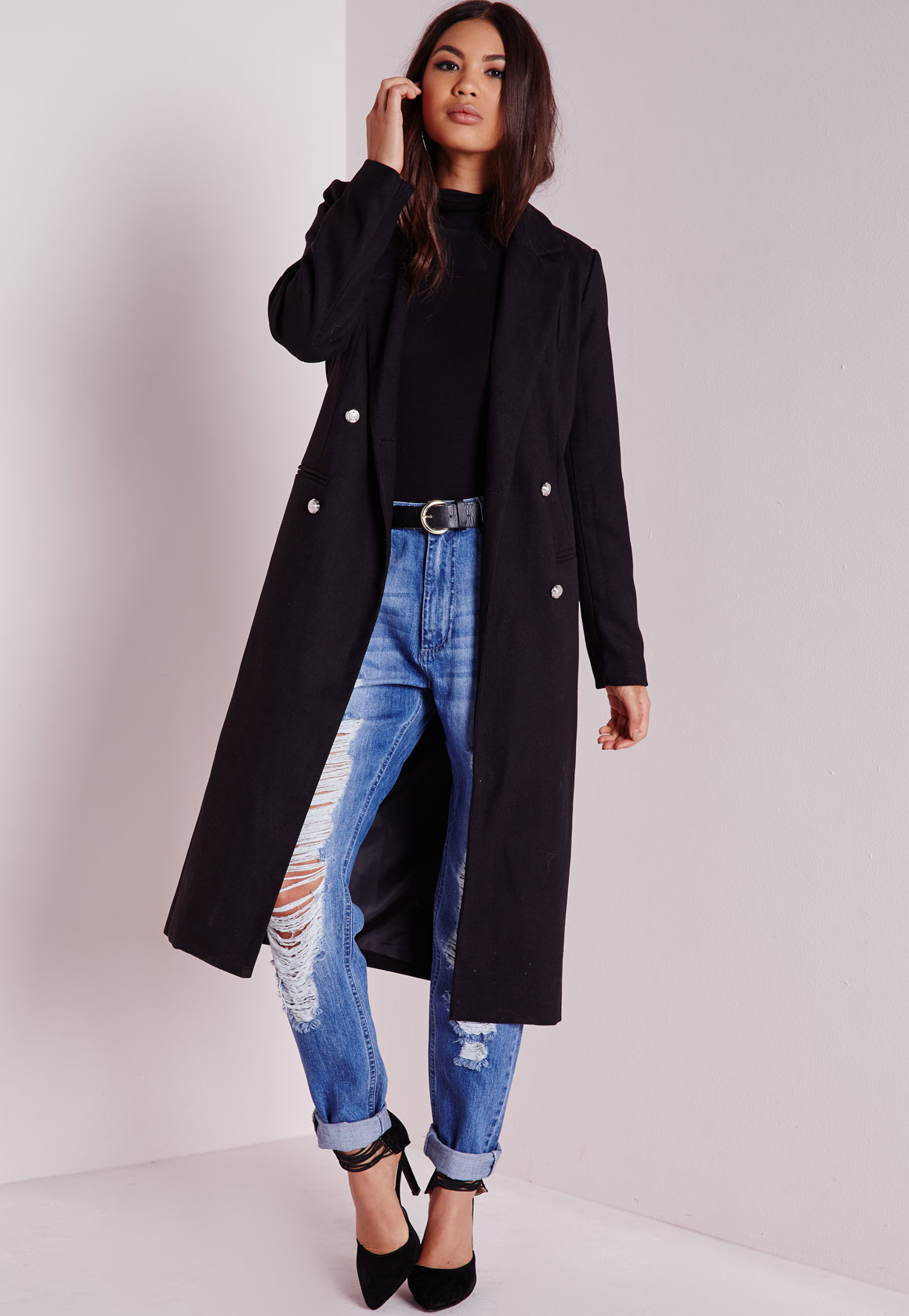 Missguided Tailored Longline Military Coat Black in Black | Lyst