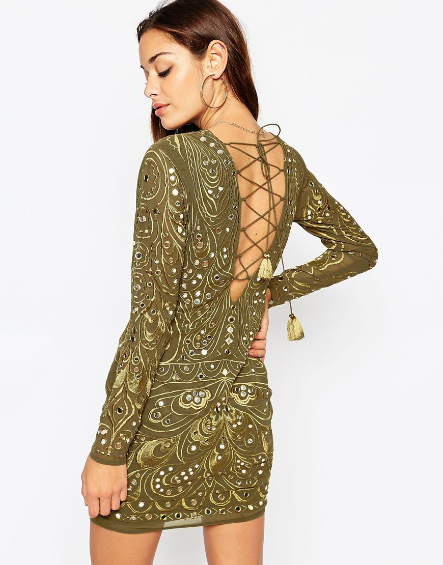 Asos Khaki Embellished And Embroidered Long Sleeved Mini Bodycon ...