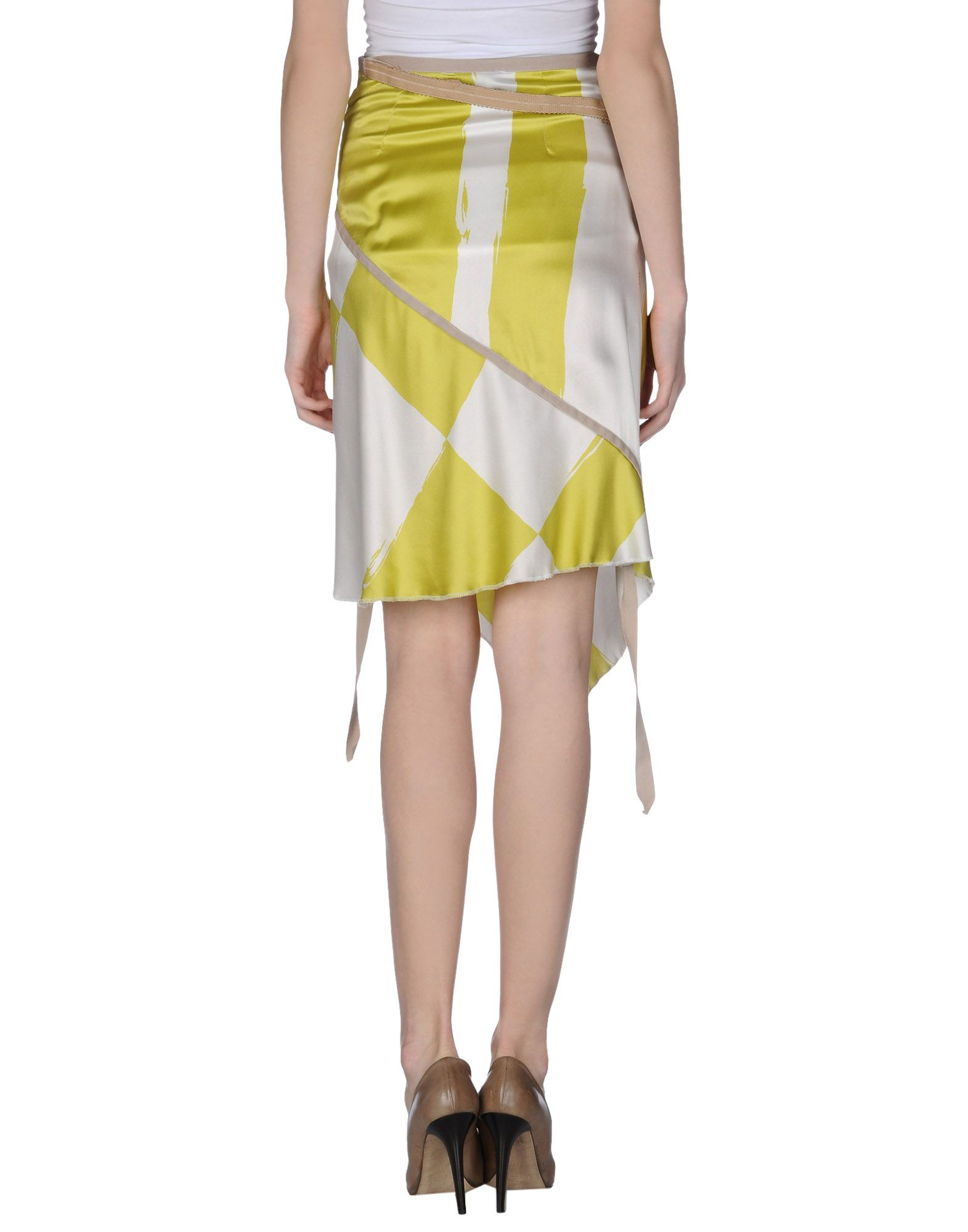 Lyst collection priv e knee length skirt in green for Calvin klein jardin collection