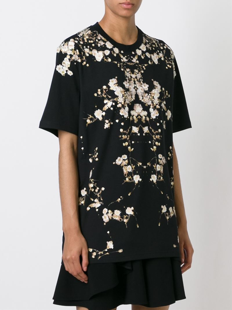 Givenchy floral print cotton t shirt in black floral lyst for Givenchy t shirts for sale