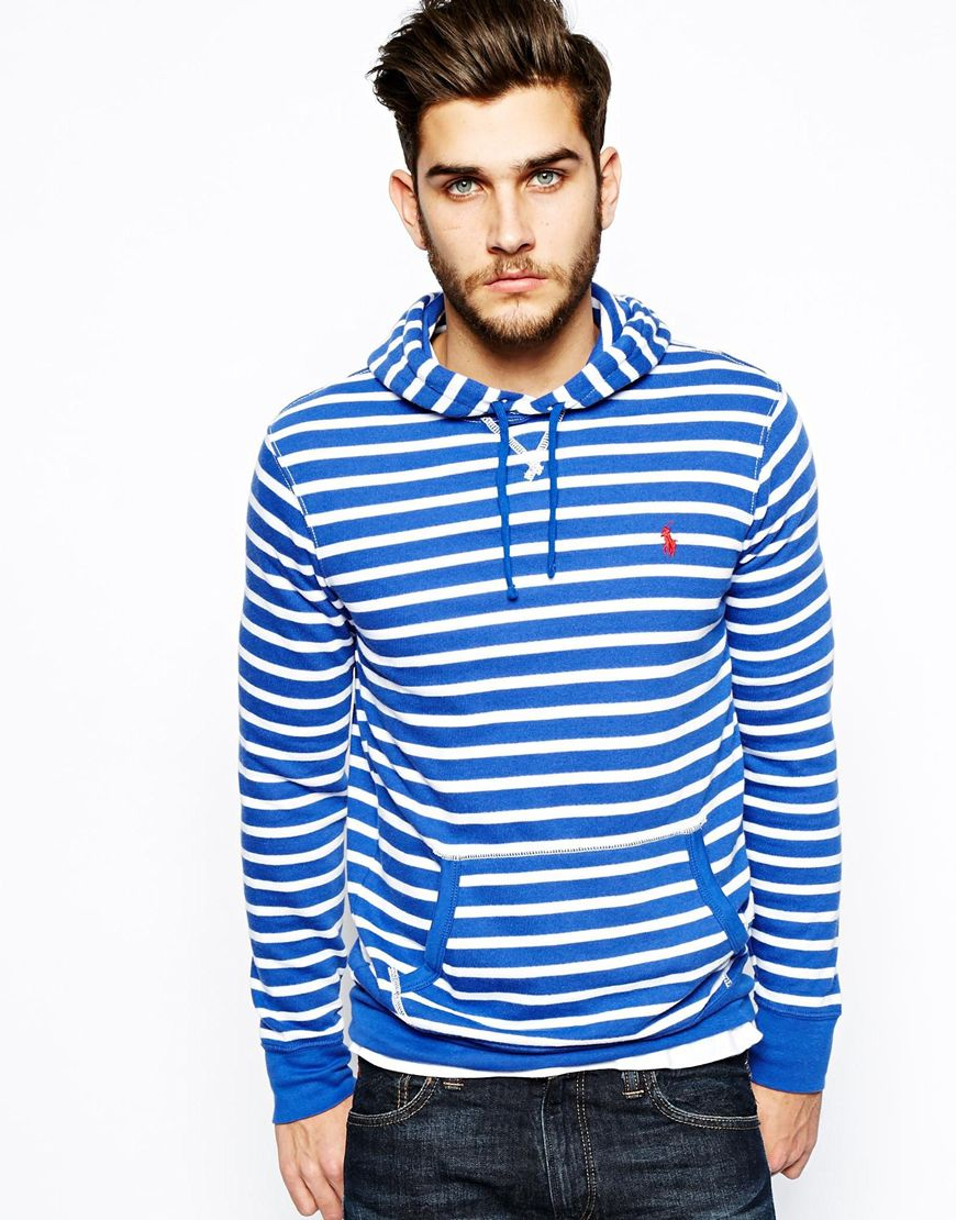 polo ralph lauren hoodie with stripe in blue for men lyst. Black Bedroom Furniture Sets. Home Design Ideas