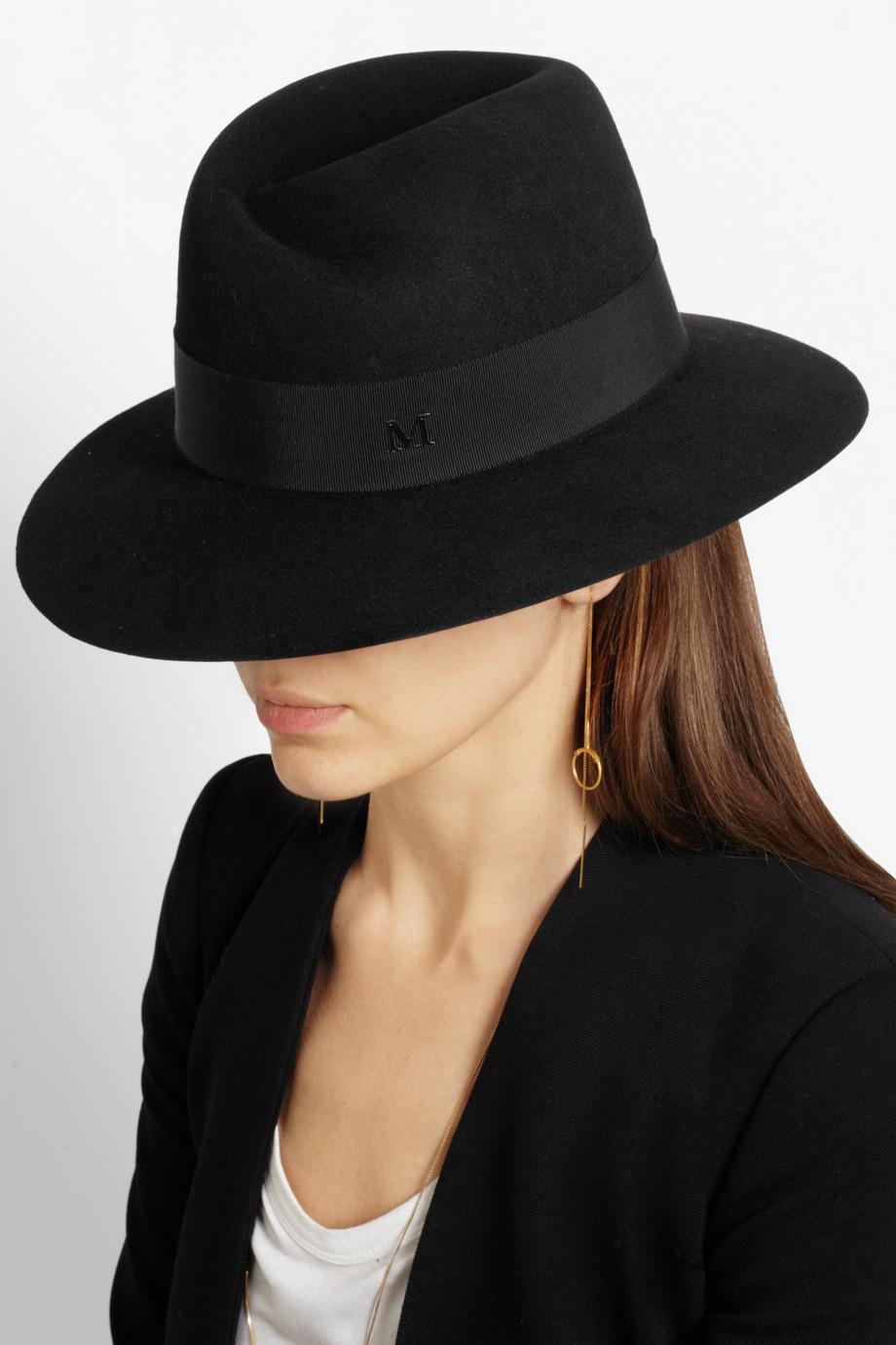 Lyst maison michel virginie rabbitfelt fedora in black for Maison michel