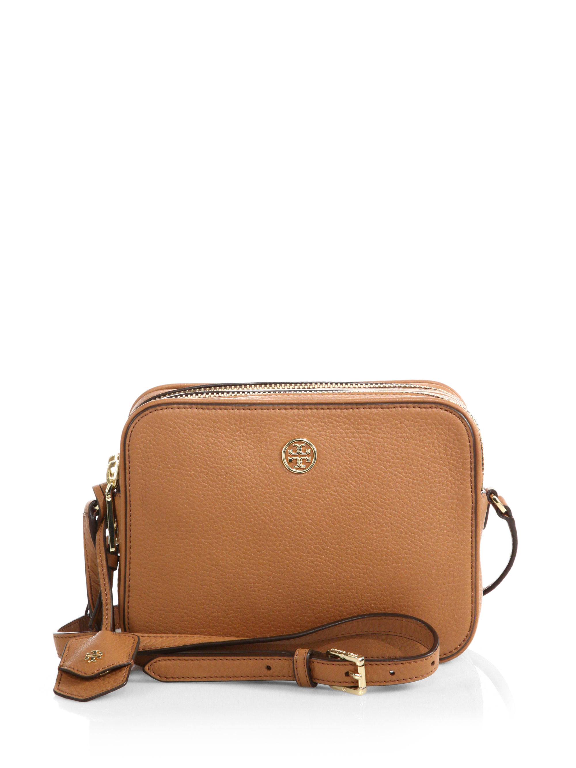 e8581bf42ed2 Lyst Tory Burch Robinson Pebbled Double Zip Crossbody Bag In Brown