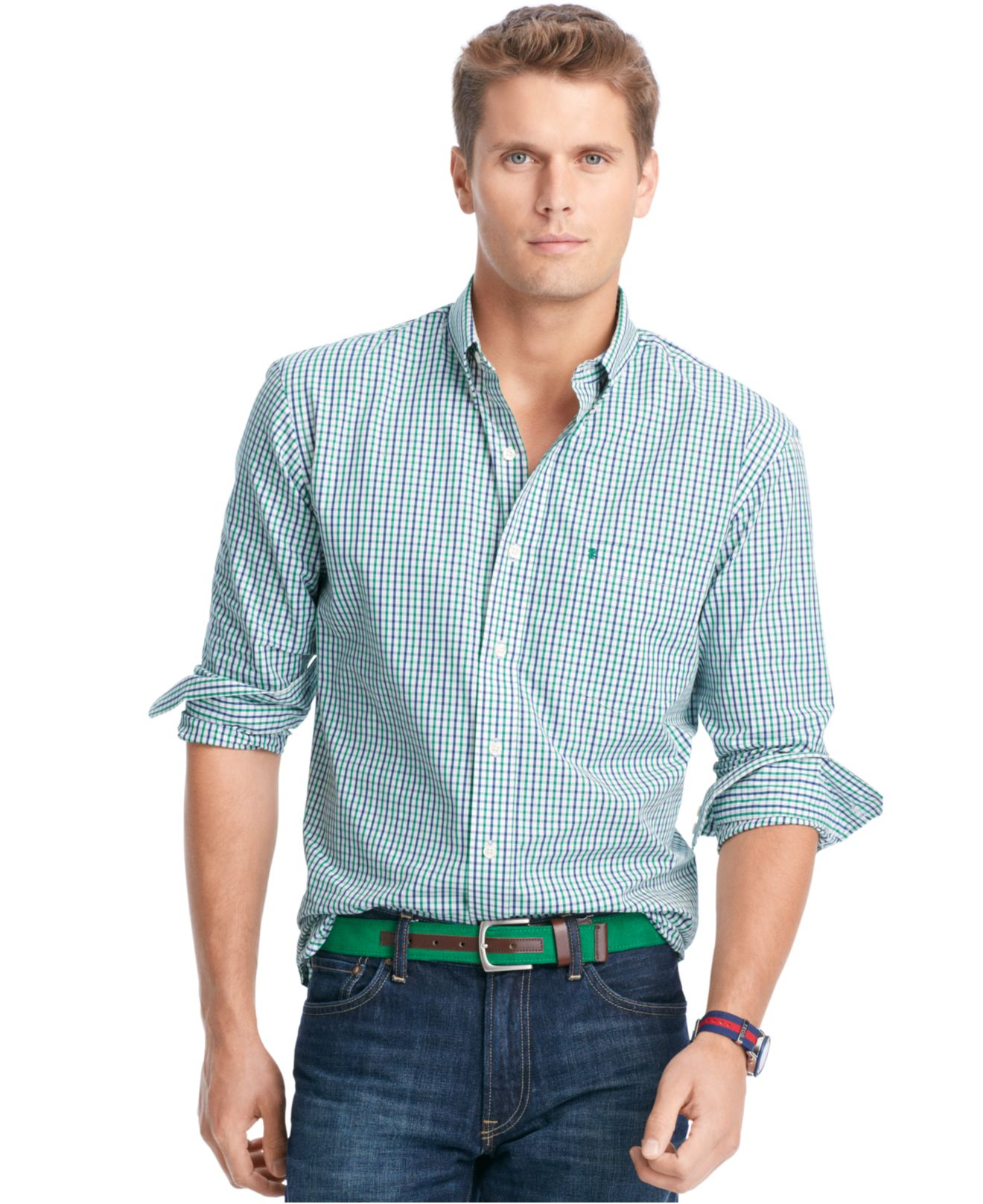 Izod tattersall button down shirt in green for men for Izod button down shirts