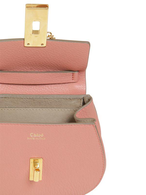 chloe grey bag - Chlo�� Nano Drew Grained Leather Shoulder Bag in Pink (MISTY ROSE ...