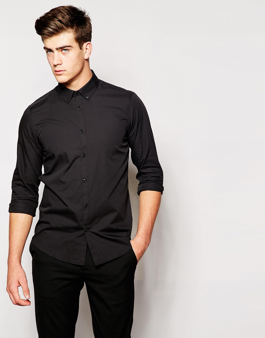 Asos Black Shirt With Button Down Collar In Regular Fit With Long ...