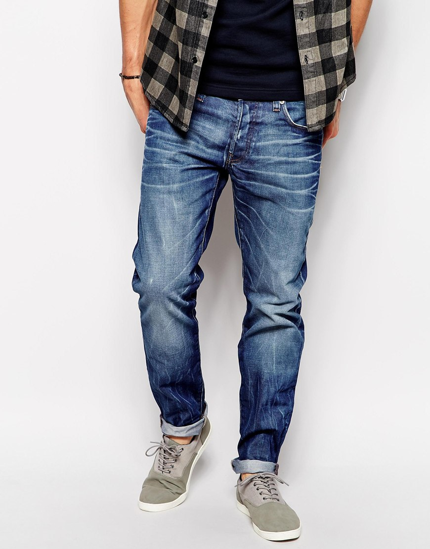star raw g star jeans 3301 low tapered hydrite medium aged in blue. Black Bedroom Furniture Sets. Home Design Ideas