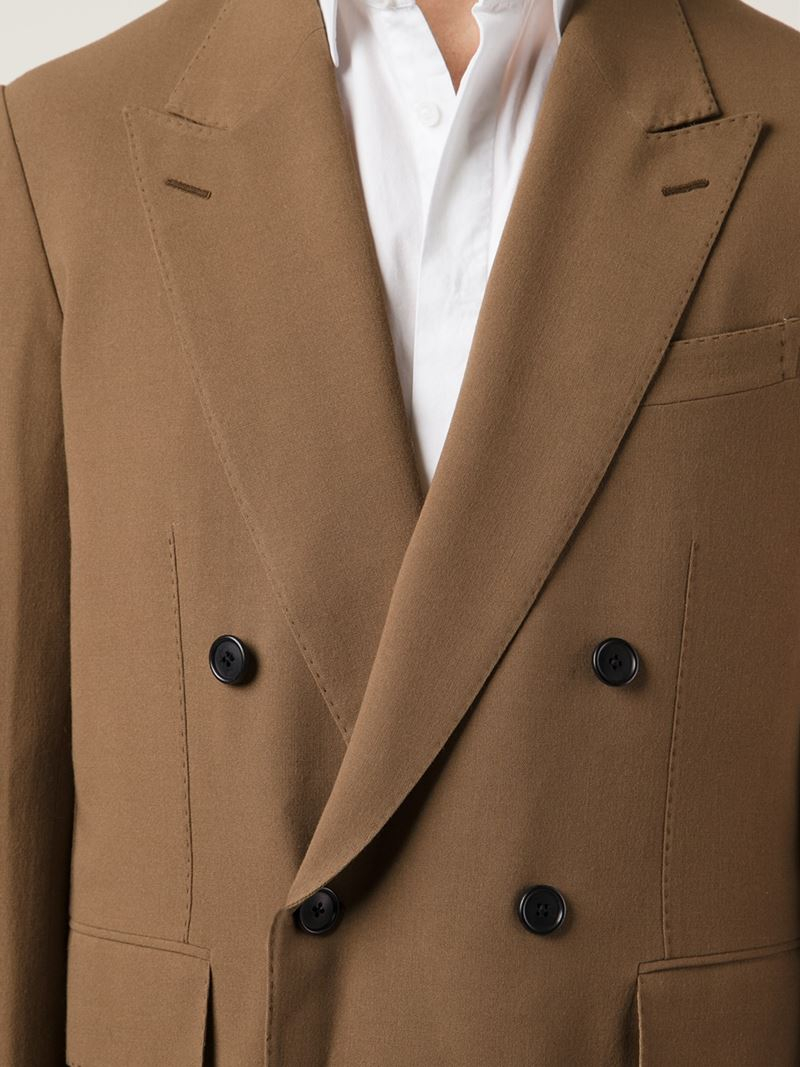 Cerruti 1881 Double Breasted Coat In Brown For Men Lyst