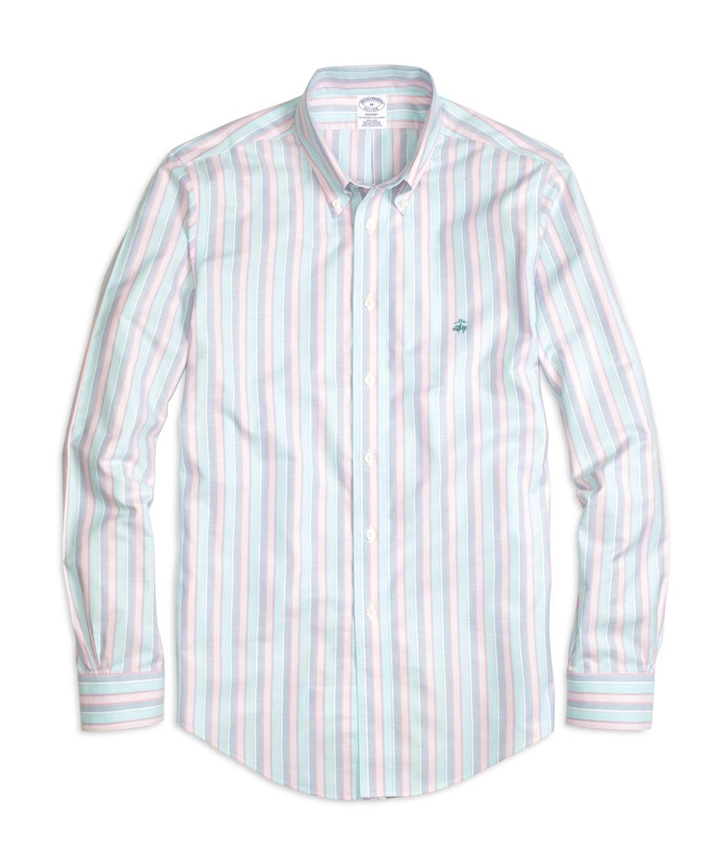 Brooks brothers madison fit oxford stripe sport shirt in for Brooks brothers sports shirts