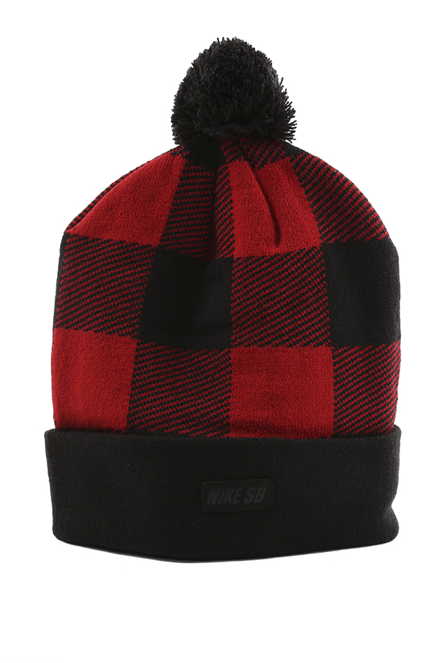 275aae44aad Lyst - Nike Sb Buffalo Plaid Pom Beanie in Red for Men