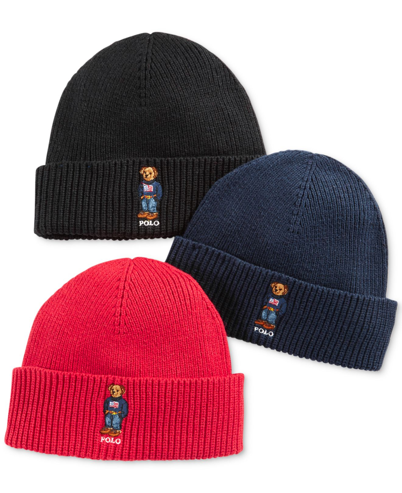 Lyst Polo Ralph Lauren Ribbed Embroidered Bear Hat In