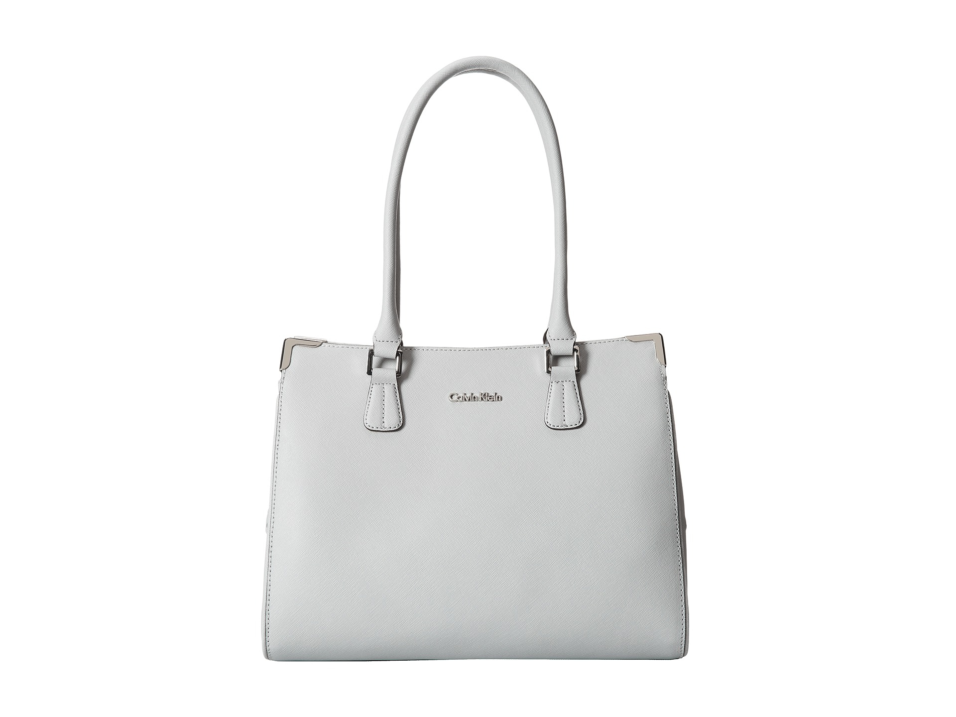 8aa7a63e2f Calvin Klein On My Corner Saffiano Leather Satchel in Gray - Lyst