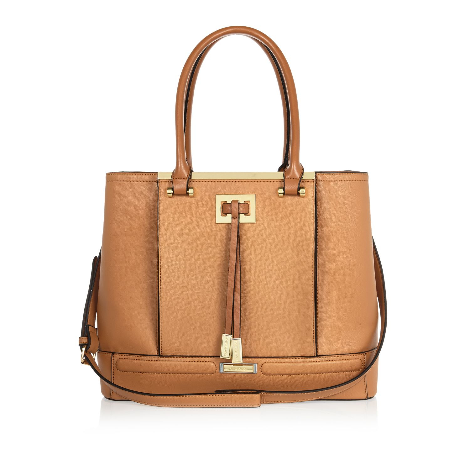 23868dc7bbdf River Island Tan Brown Structured Tote Handbag in Natural - Lyst