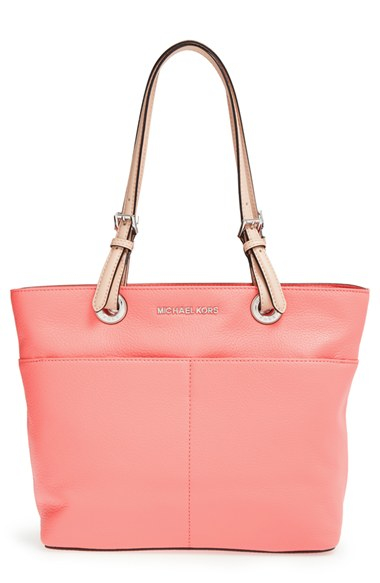 michael michael kors 39 bedford 39 leather tote coral in pink lyst. Black Bedroom Furniture Sets. Home Design Ideas