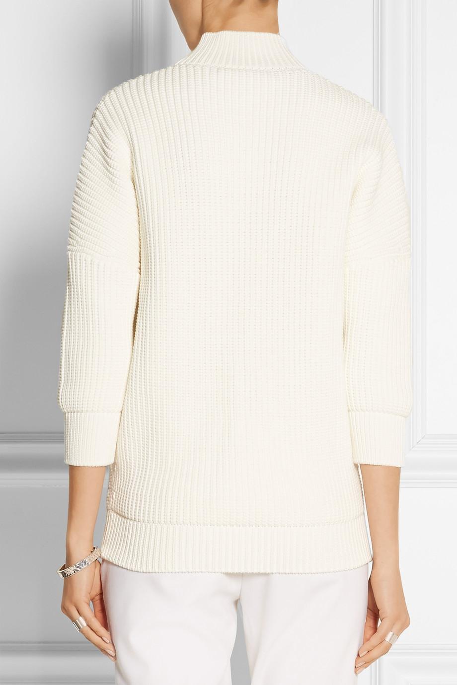 Victoria beckham Cotton-Blend Turtleneck Sweater in White | Lyst