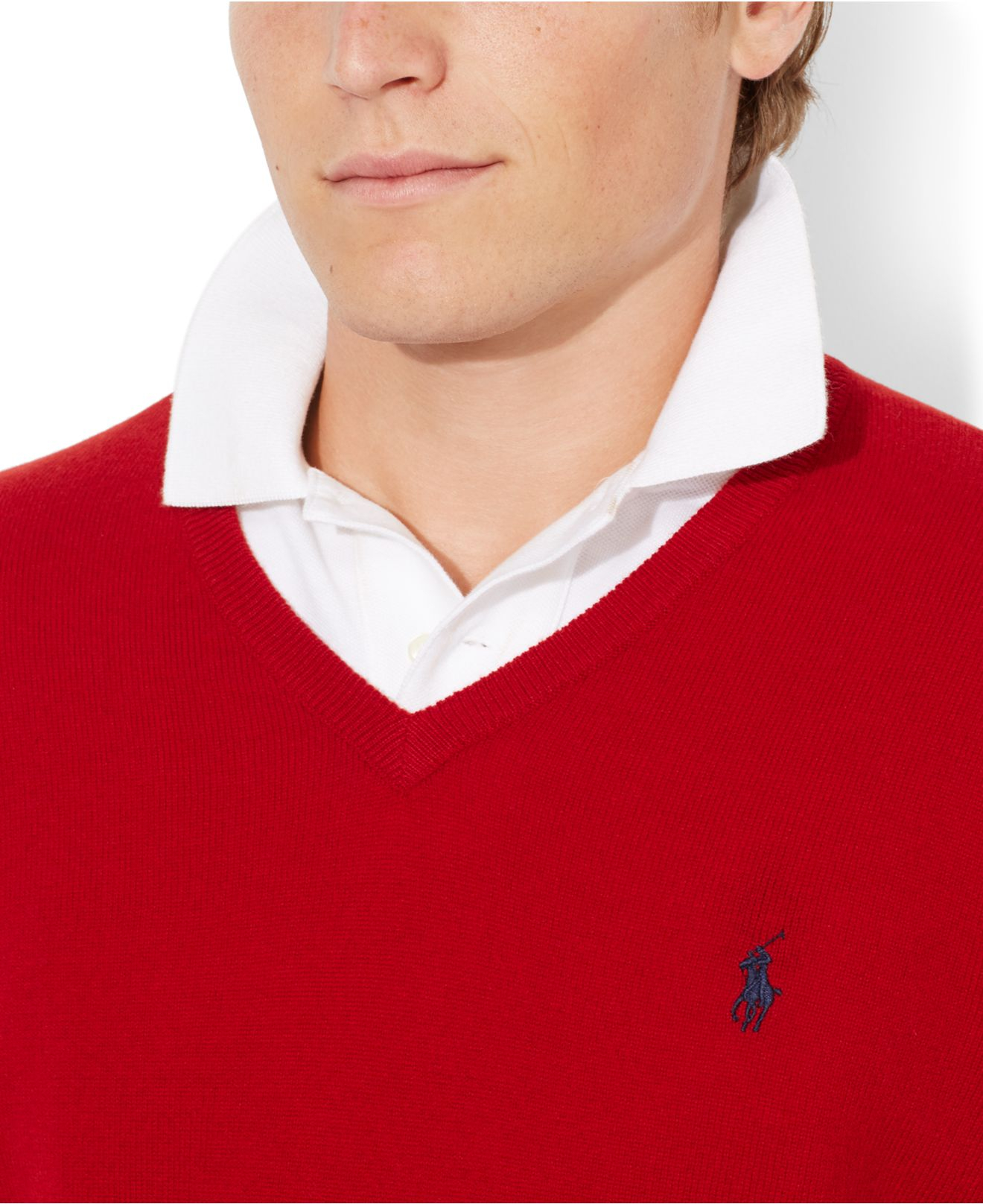 d96e05620 Polo Ralph Lauren Loryelle Merino Wool V-Neck Sweater in Red for Men ...
