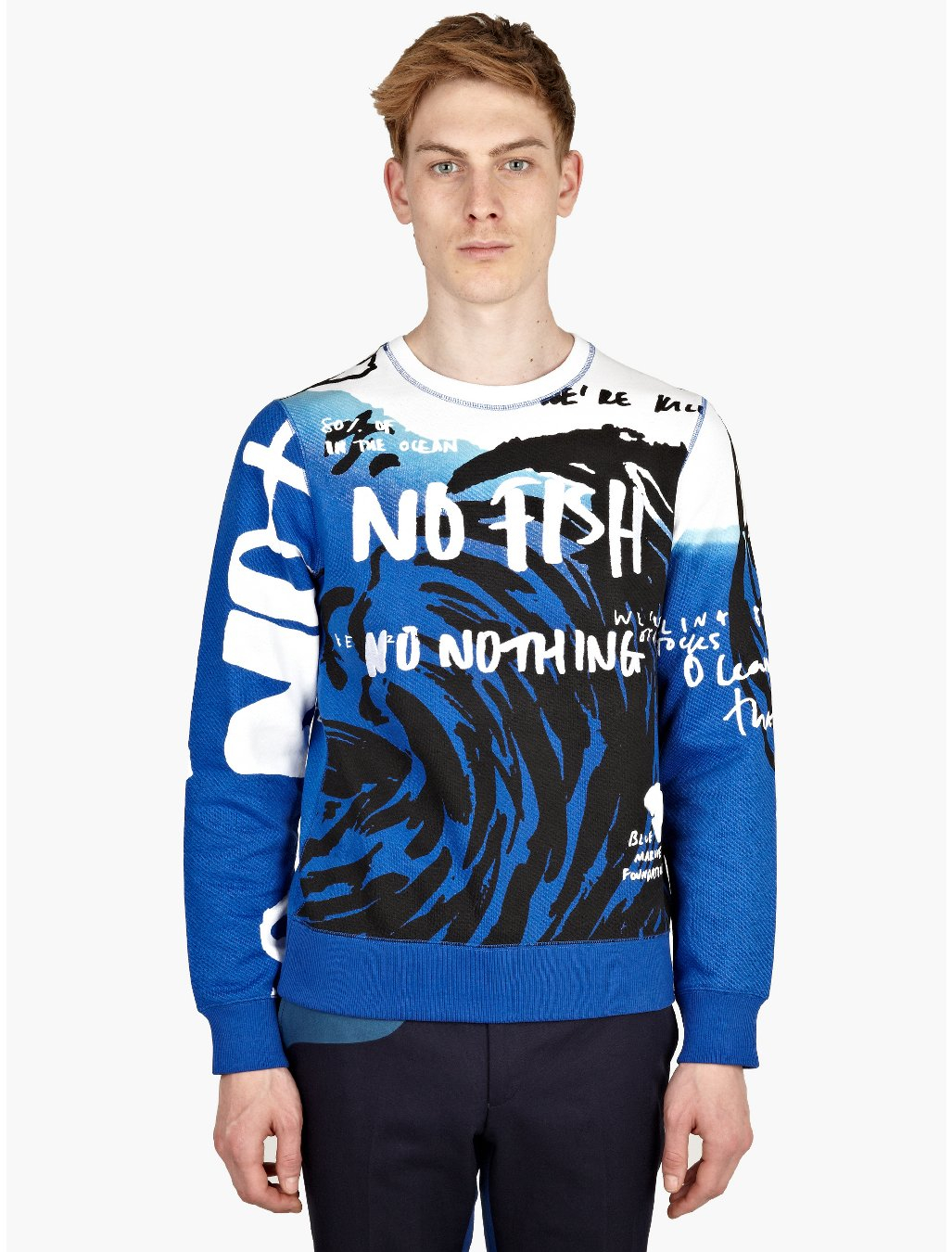 Kenzo mens blue print no fish embroidered sweatshirt in for Embroidered fishing shirts