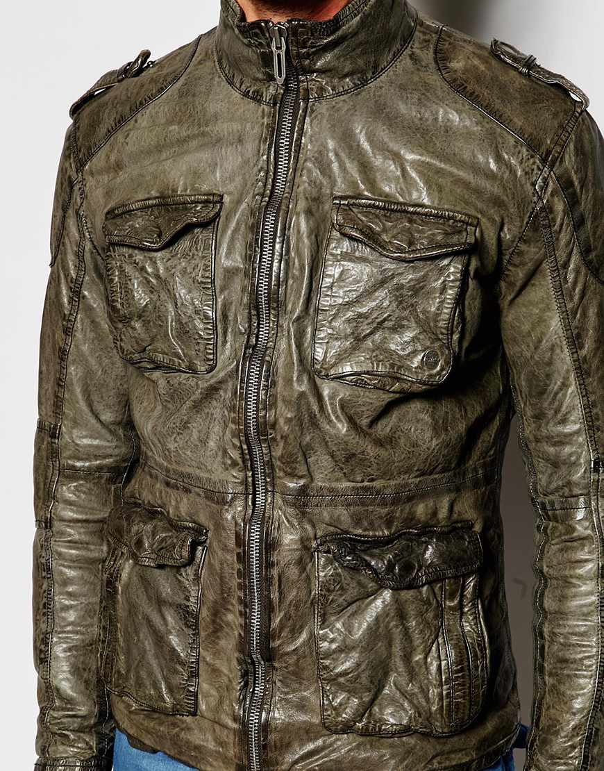 lyst pepe jeans pepe heritage leather jacket fortman. Black Bedroom Furniture Sets. Home Design Ideas