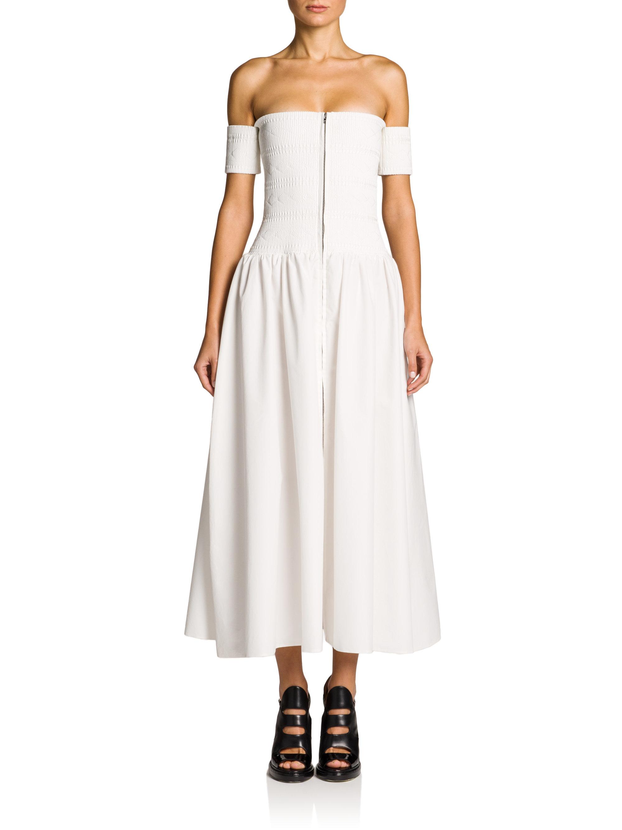 Lyst - Fendi Smocked Off-the-shoulder Midi Dress in White