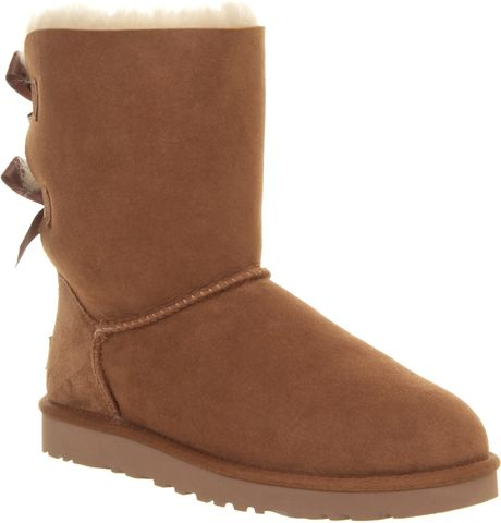ugg bailey bow calf boot in brown chestnut lyst