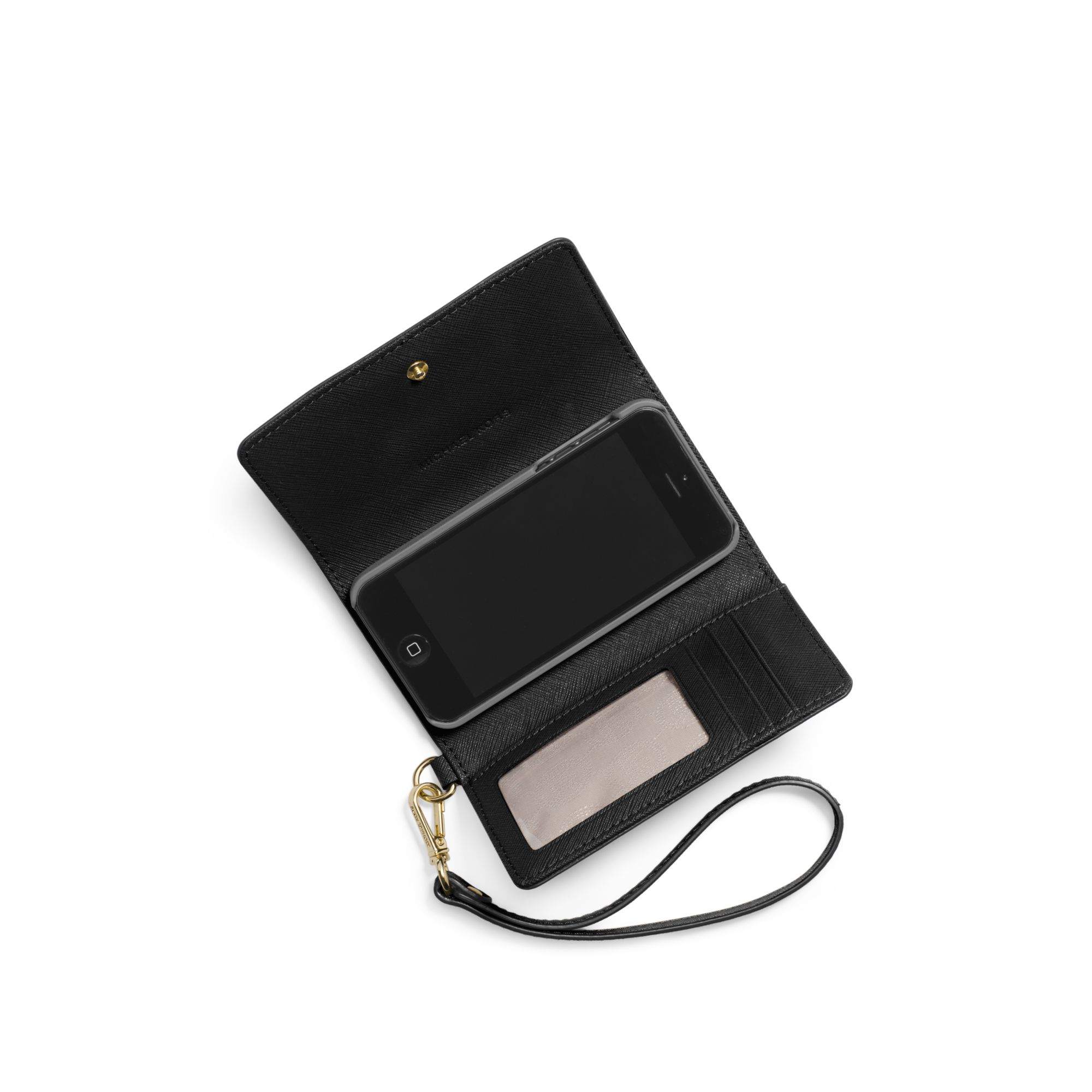 bb9cdf841c80 Lyst - Michael Kors Saffiano Leather Smartphone Wristlet in Black