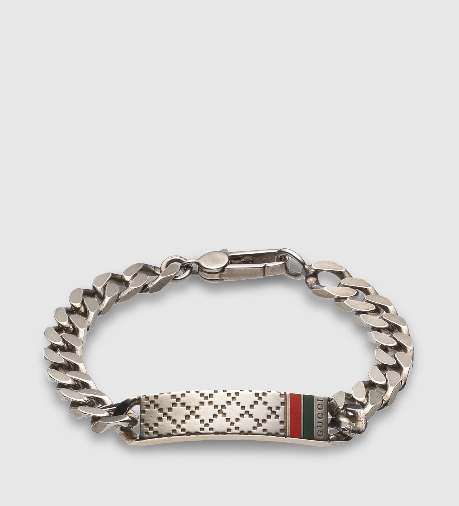 Gucci Diamante Motif Id Bracelet In Metallic For Men Lyst
