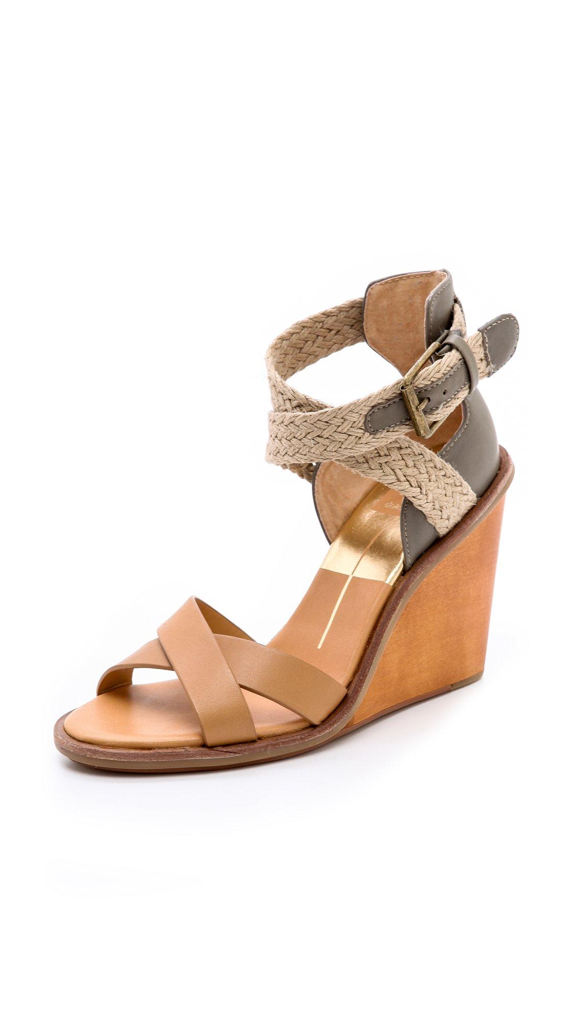 dolce vita jarona wedge sandals in brown caramel lyst