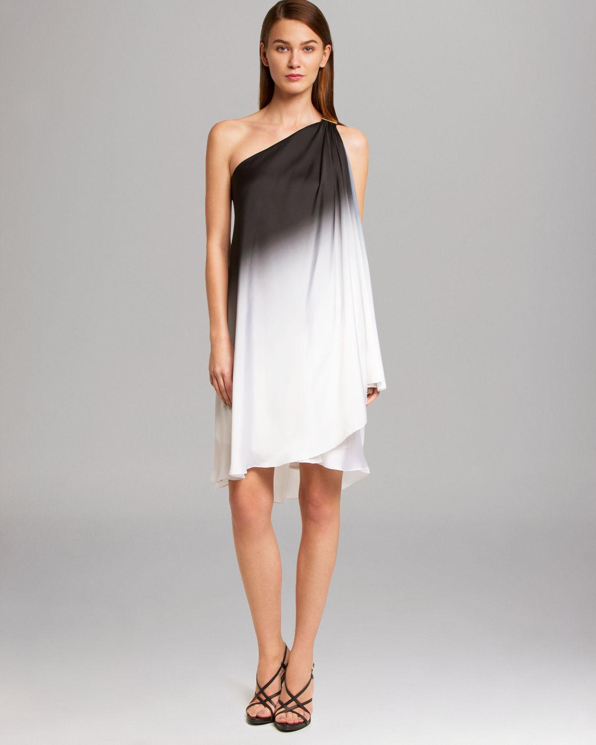 Halston heritage dress one shoulder ombre in black chalk for Halston heritage shirt dress