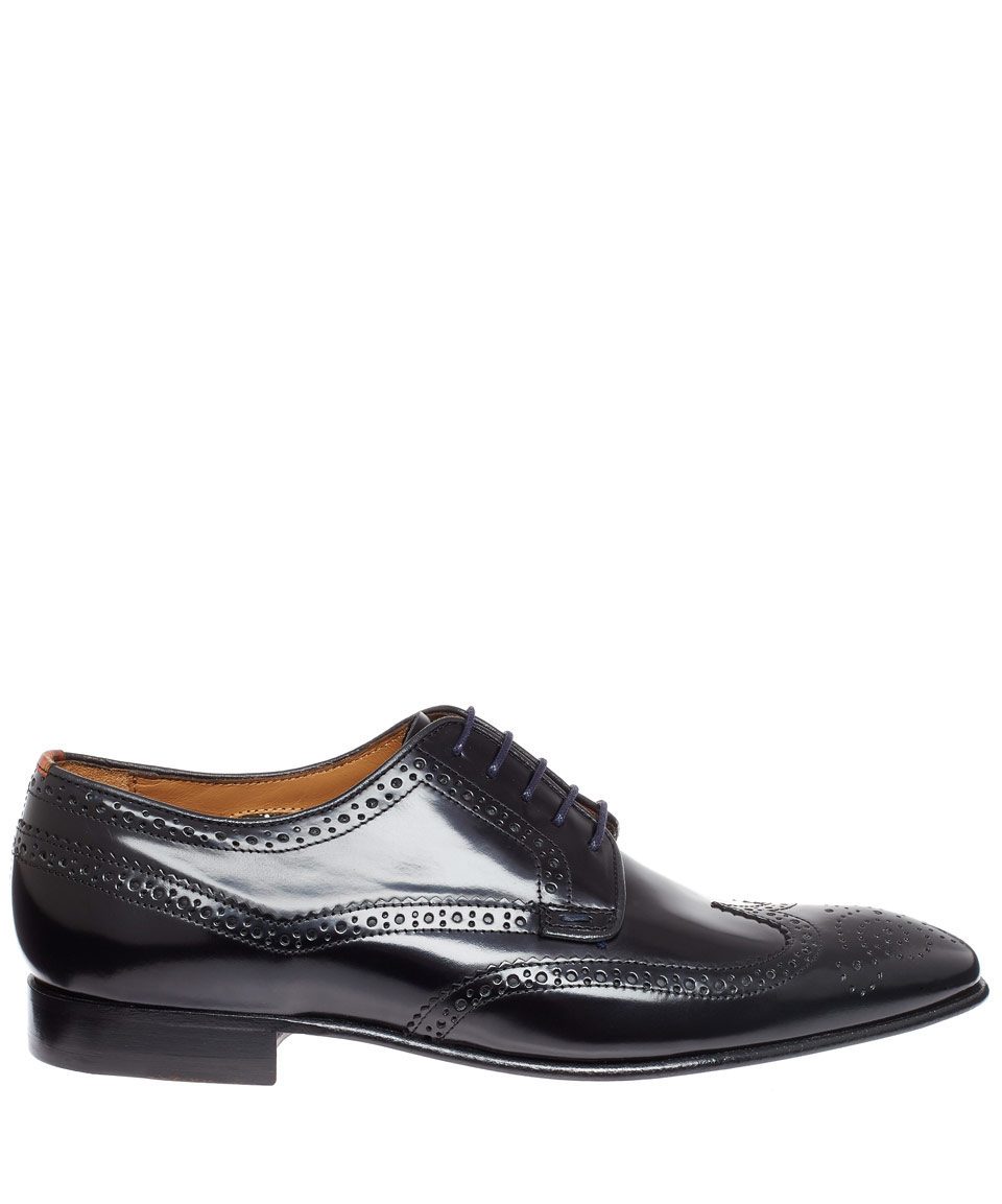paul smith black aldrich leather derby shoes in black for
