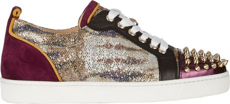 Christian Louboutin Louis Junior Spikes Sneakers In Gold