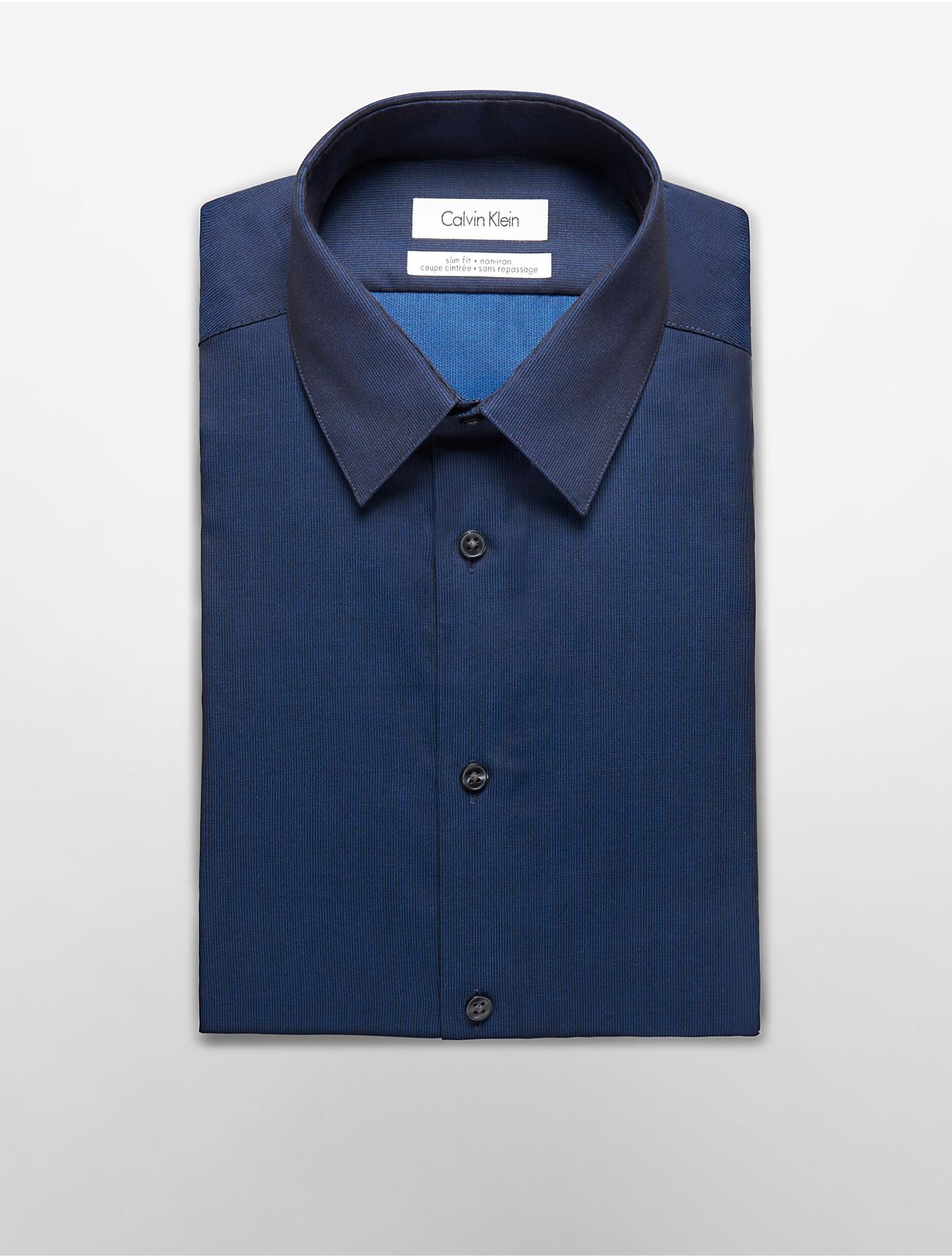 Calvin klein steel slim fit non iron solid poplin dress for Non iron slim fit dress shirts