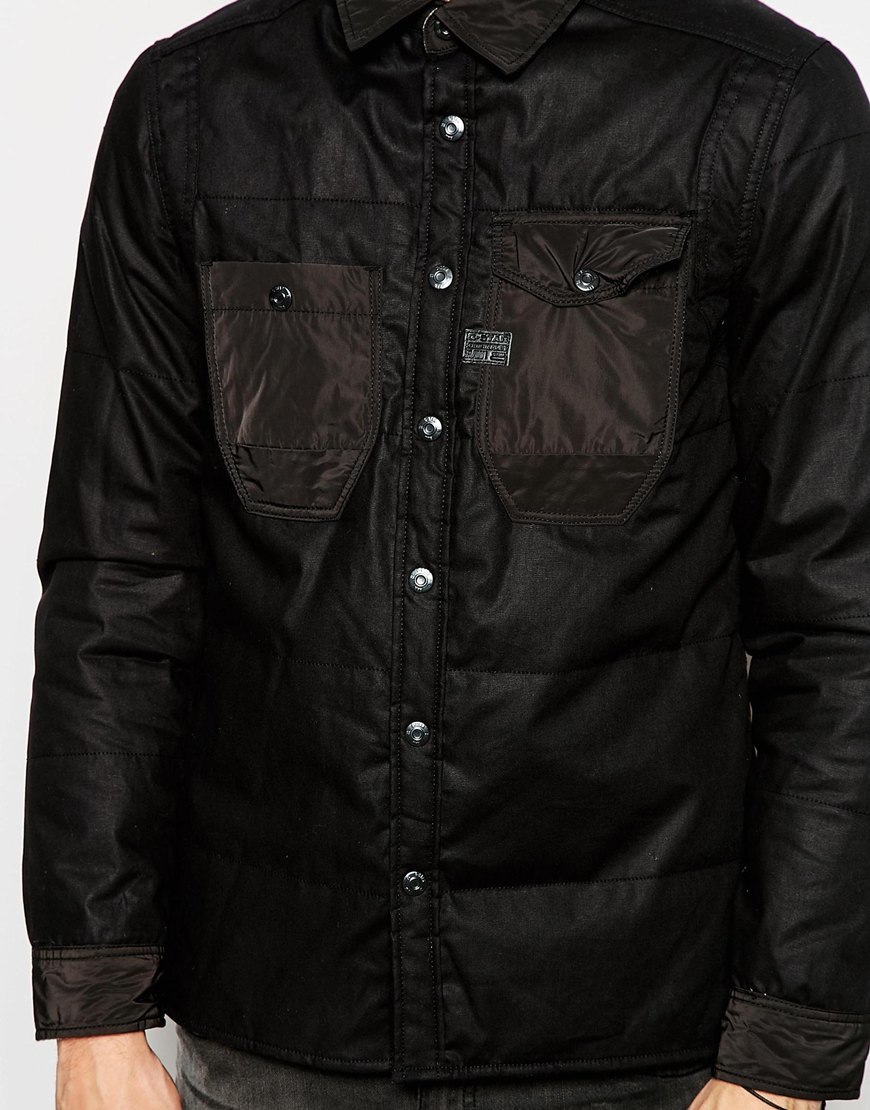 g star raw padded overshirt jacket wolker boron waxed. Black Bedroom Furniture Sets. Home Design Ideas