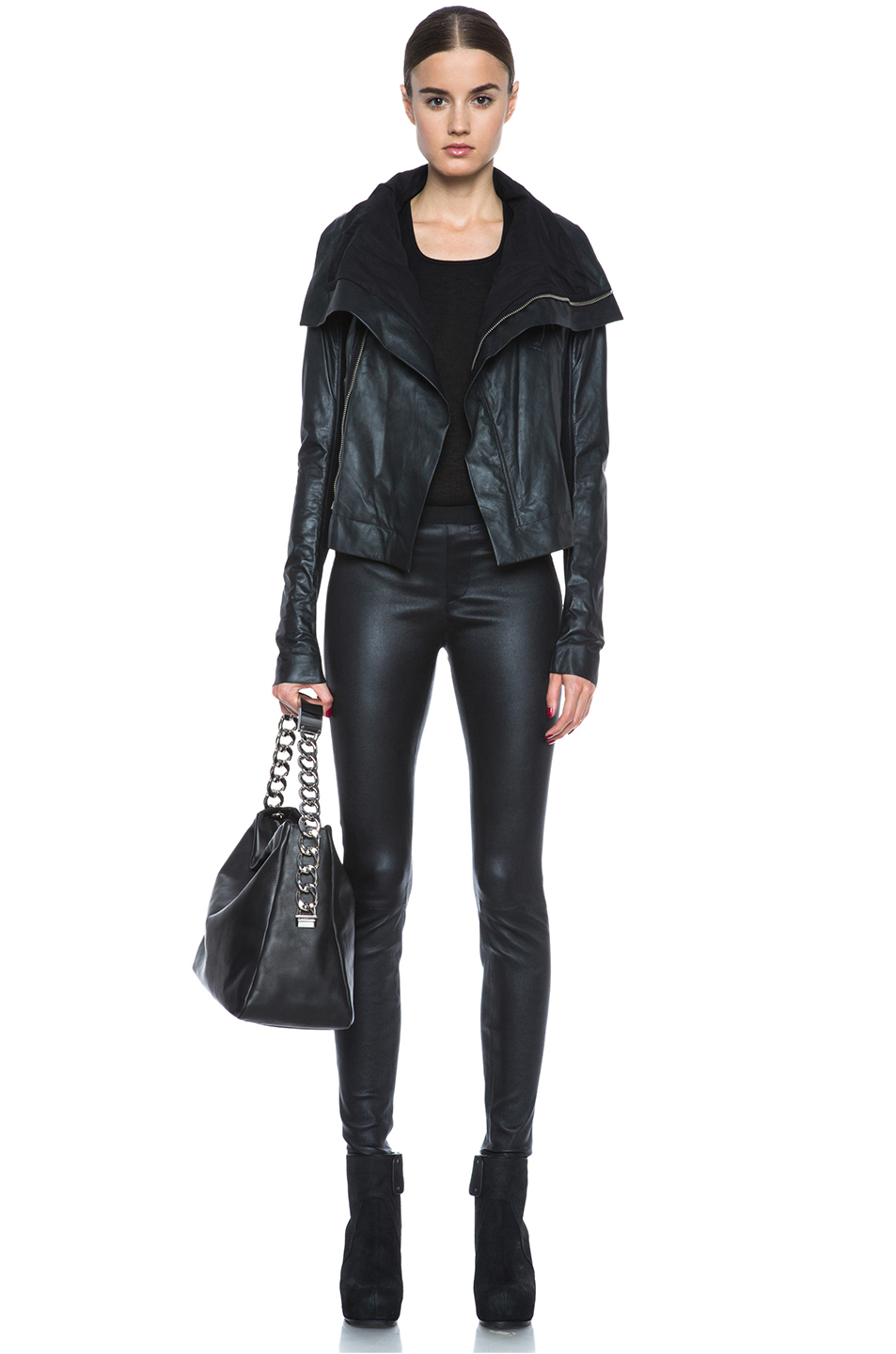 Rick owens Classic Biker Leather Jacket in Black | Lyst