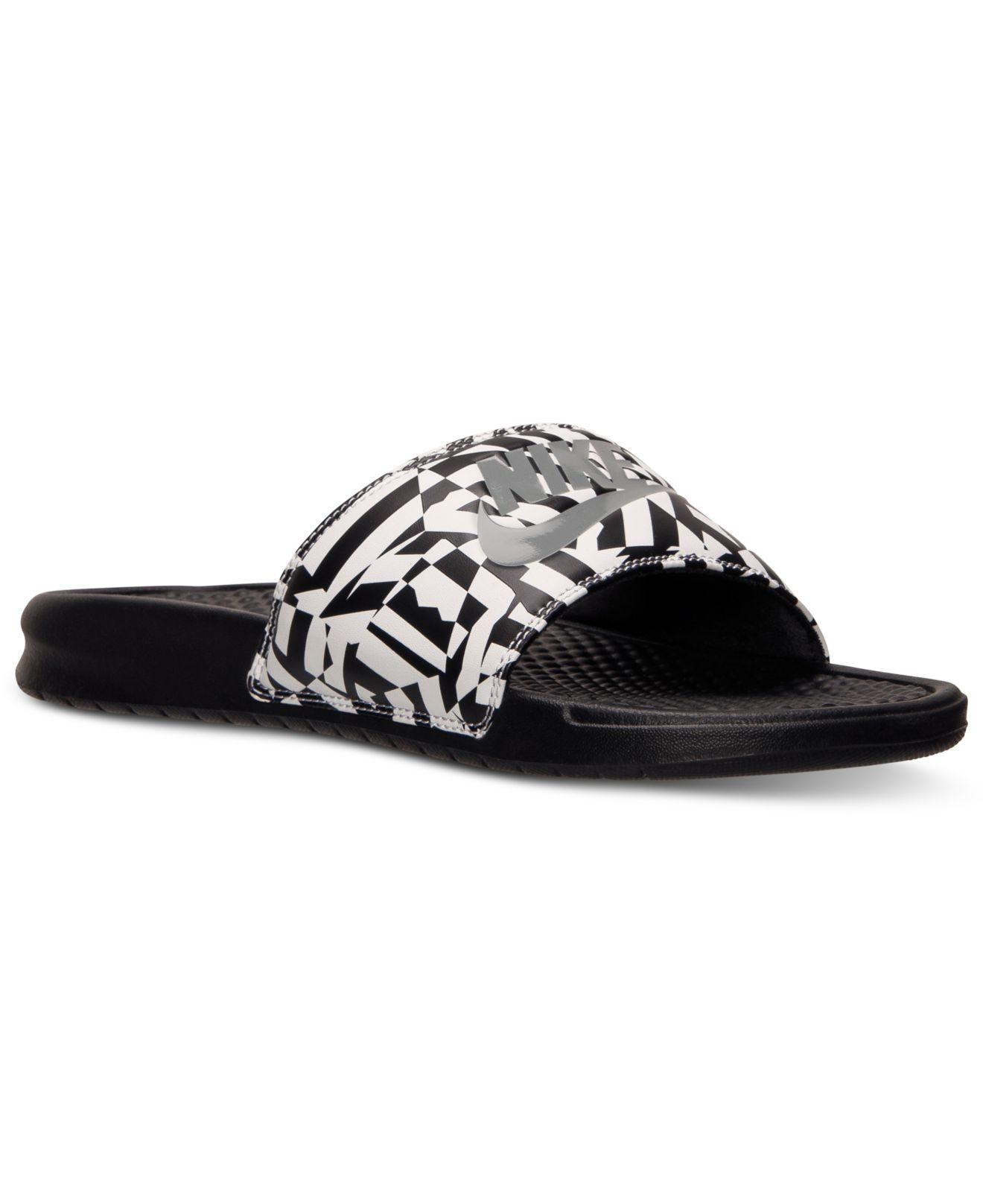 efe69d44e Nike Men'S Benassi Jdi Print Slide Sandals From Finish Line in Black ...