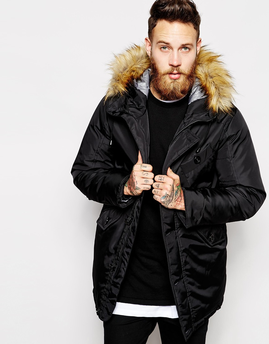 Asos Parka Jacket in Black for Men | Lyst