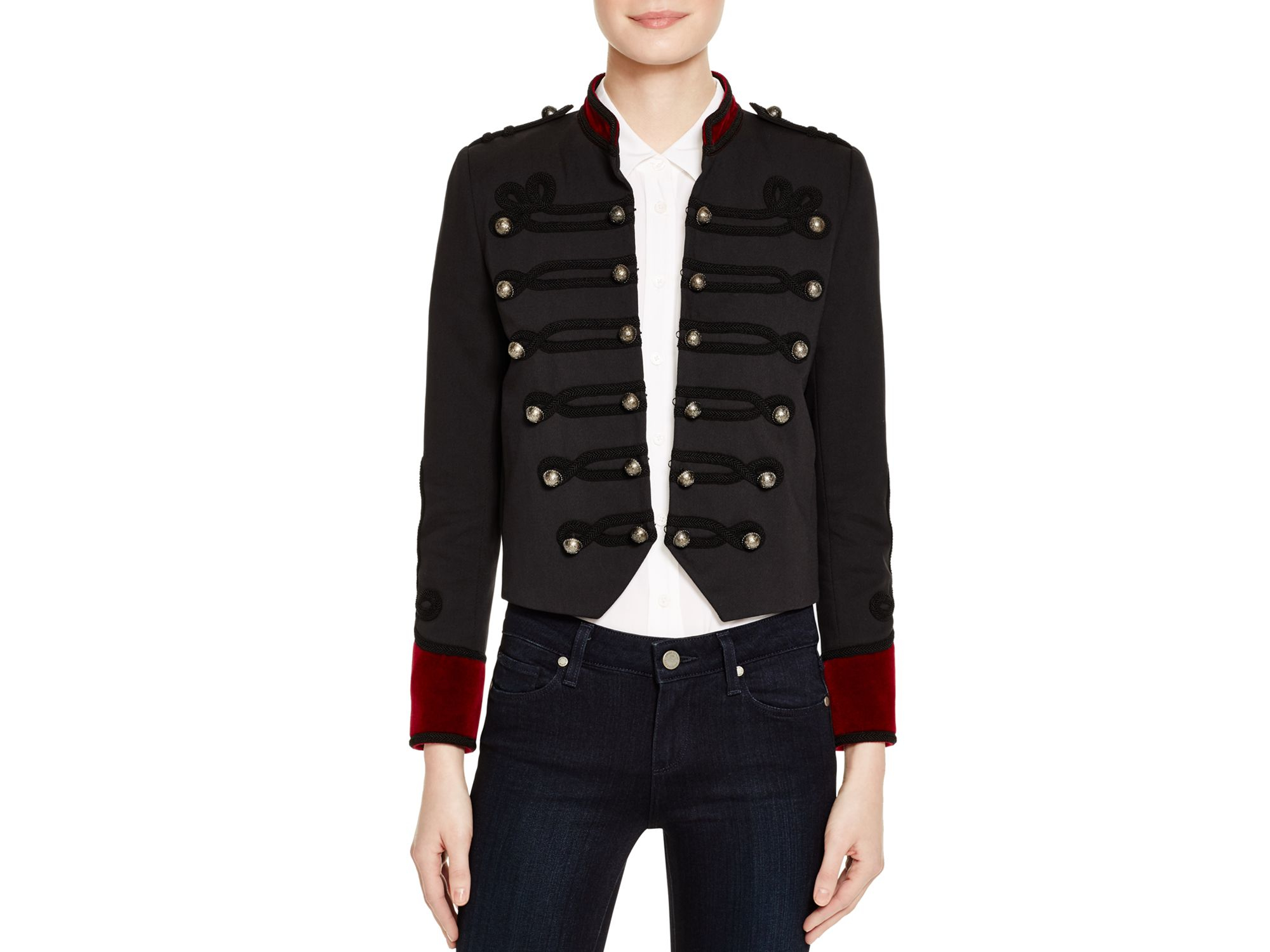 The kooples Color-blocked Military Jacket in Blue | Lyst