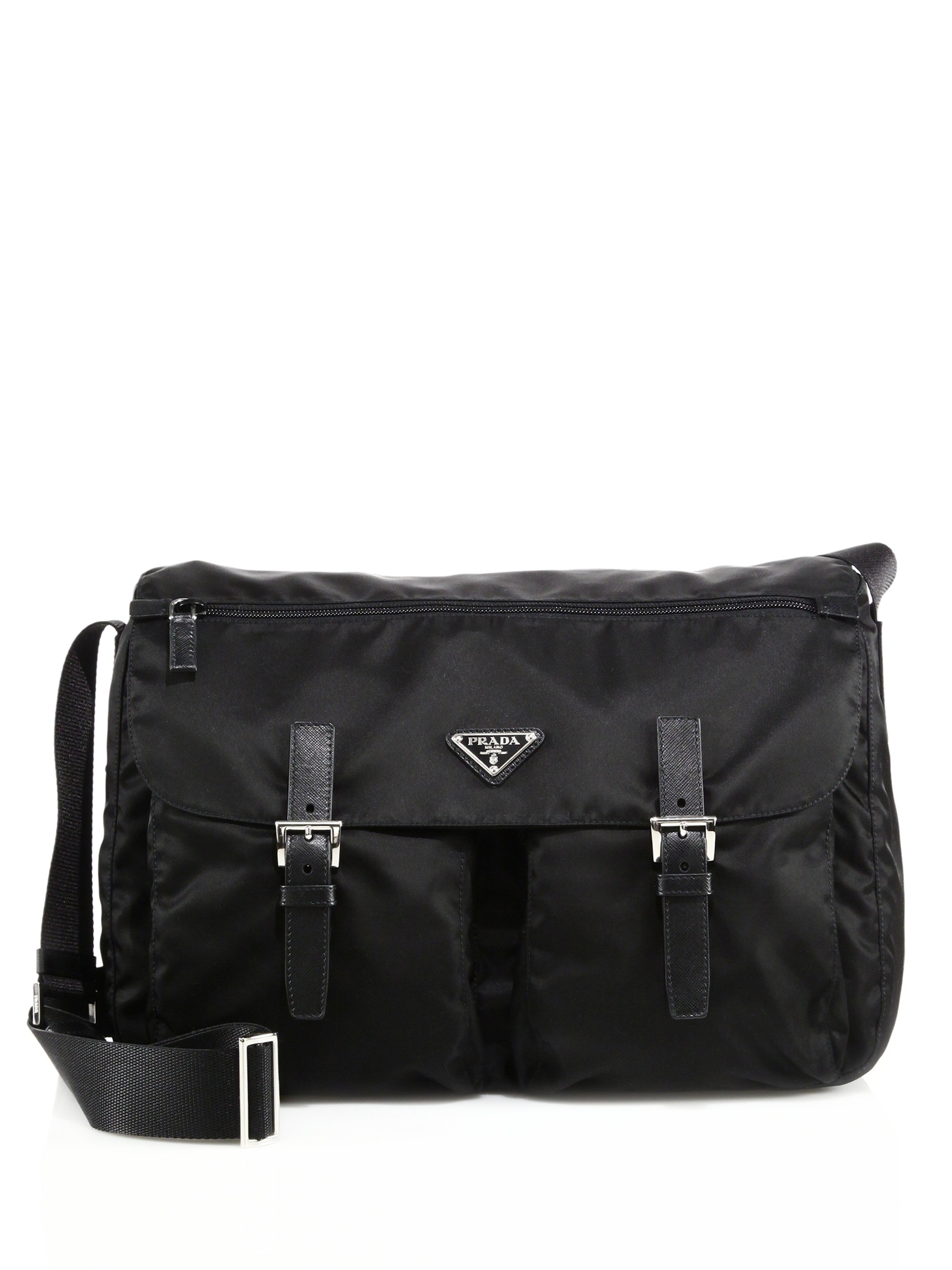 prada saffiano purse forum - Prada Nylon & Leather Messenger Bag in Black | Lyst