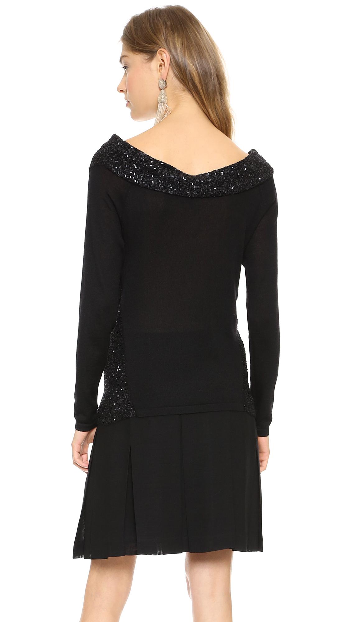lyst donna karan off the shoulder cashmere sweater. Black Bedroom Furniture Sets. Home Design Ideas