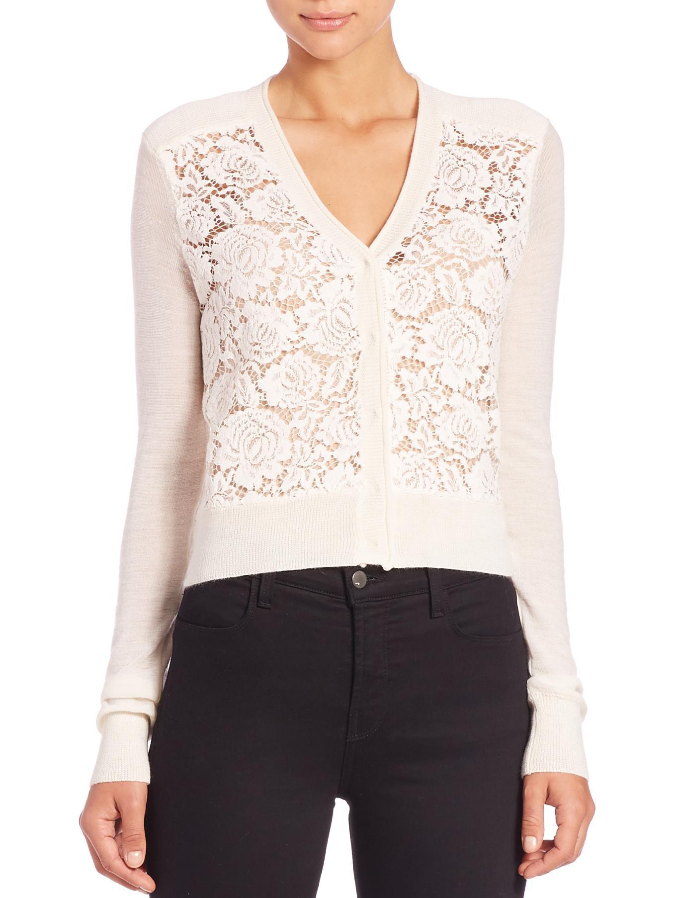 Lyst - Rebecca Taylor Lace-front Cardigan Sweater in White e013c94e2