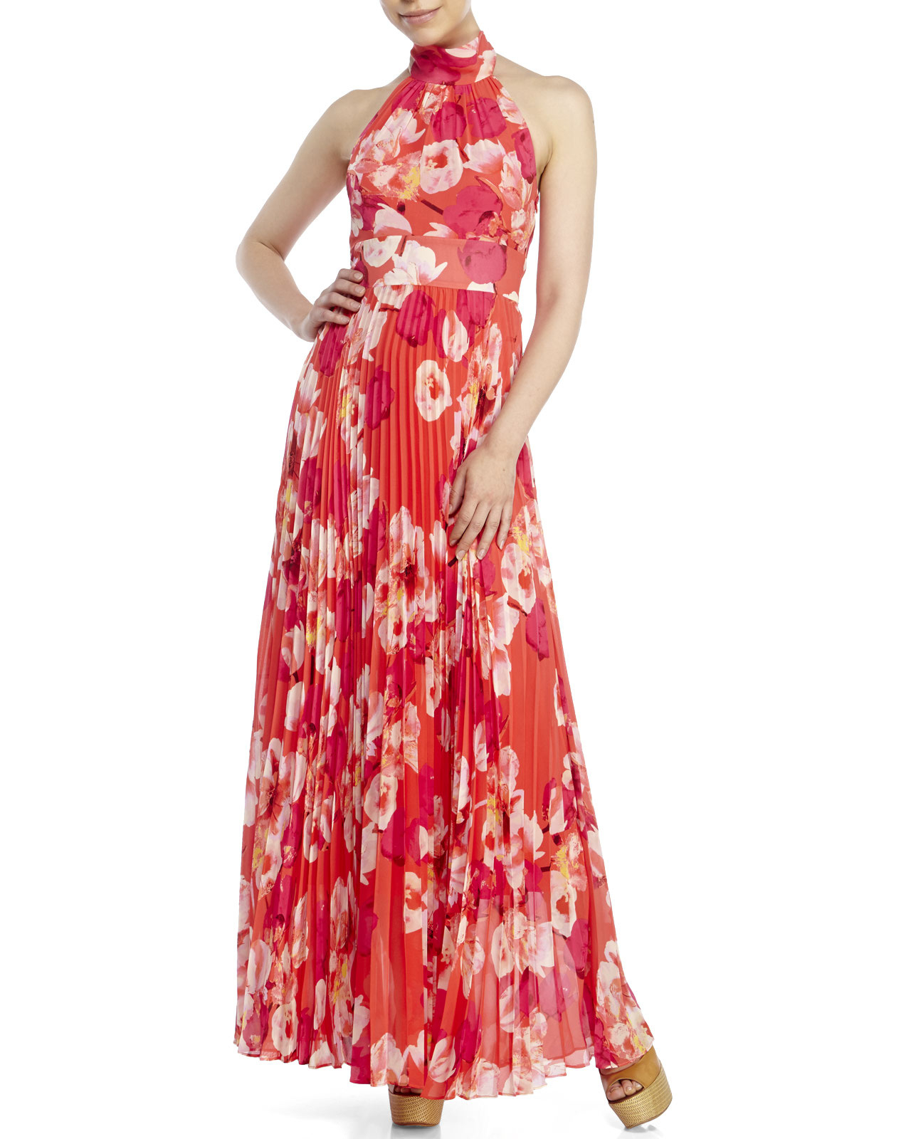 da22b7f6e521 Floral Print Chiffon Maxi Dress Eliza J - raveitsafe