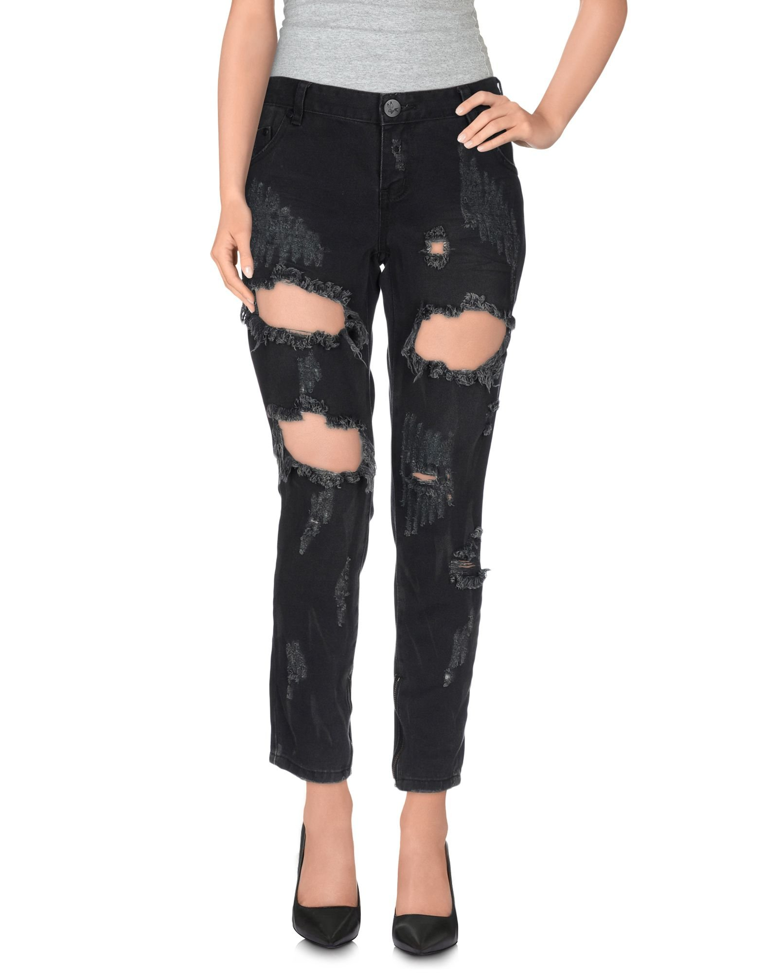 one teaspoon denim trousers in black lyst. Black Bedroom Furniture Sets. Home Design Ideas